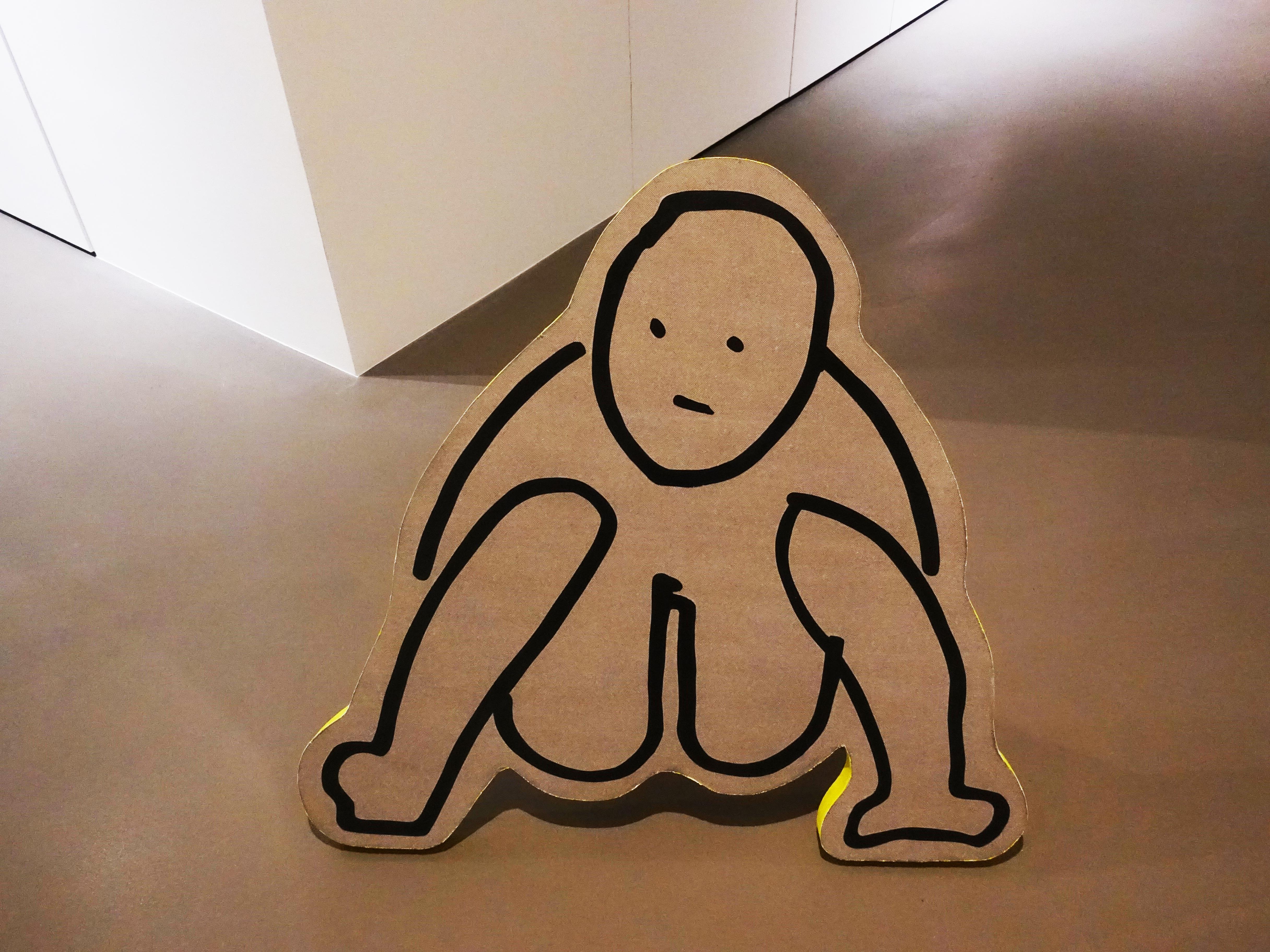 蕭筑方,《拉屎》,90 x 87 cm,壓克力顏料、畫布,2020。