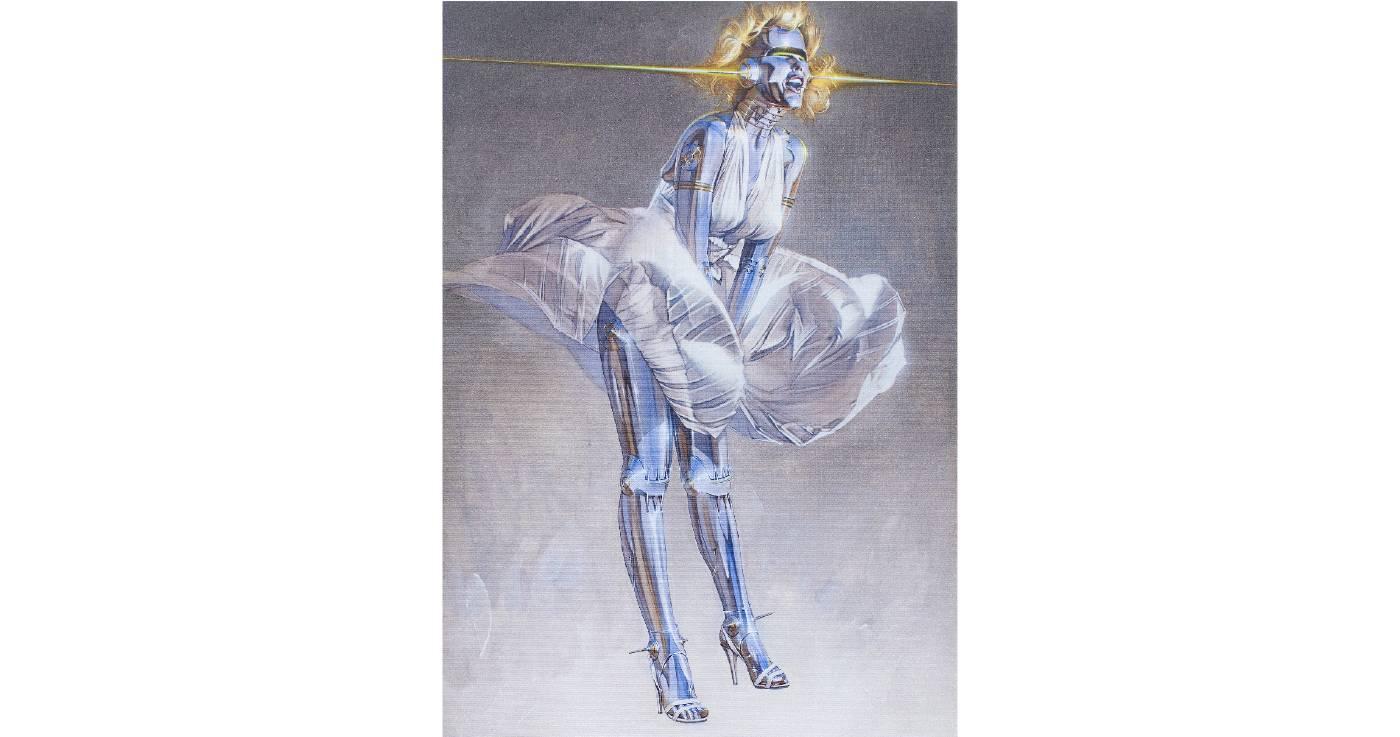空山基 Hajime SORAYAMA | Untitled | 54.3 x 39 cm | Silkscreen print, crystal glass on canvas | 2017