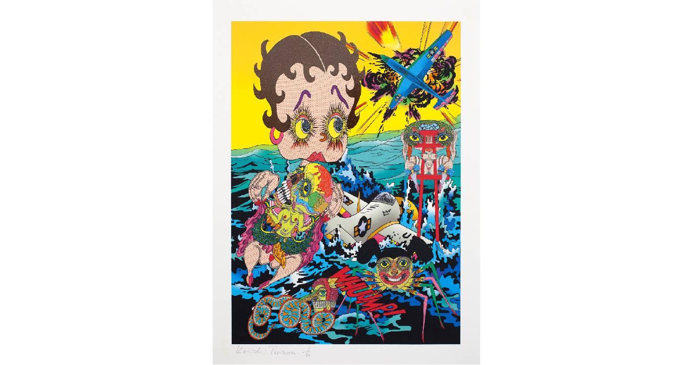 田名網敬一 Keiichi TANAAMI | 金魚鉢のなかの畸形宇宙2 | 68 x 50.5 cm | Pigment print, silkscreen print, ground glass on paper | 2017