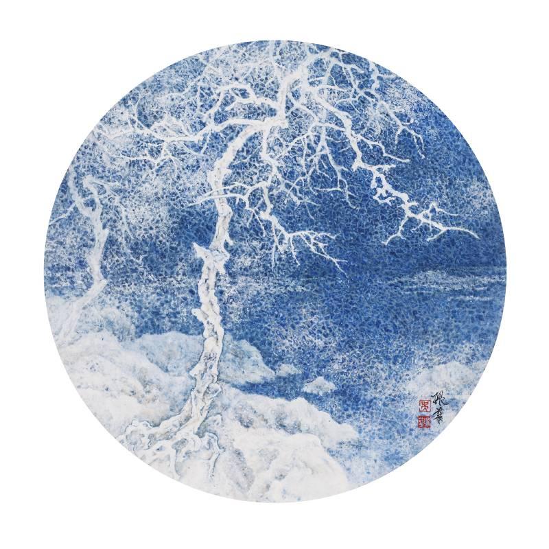 吳珮華|白線的跳動系列-101|直徑45公分| 紙本設色|2019