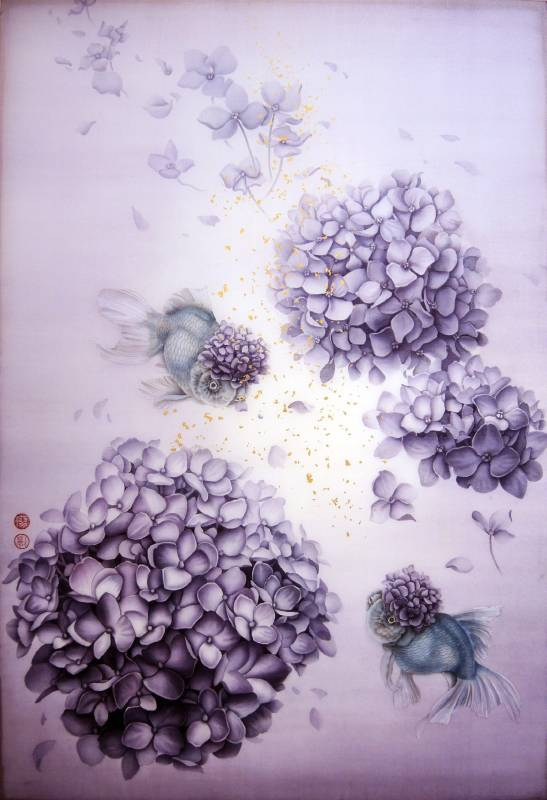 廖力慧|一心三觀(5)|40.9x60.6 cm|絹本、墨、水干、金箔|2019