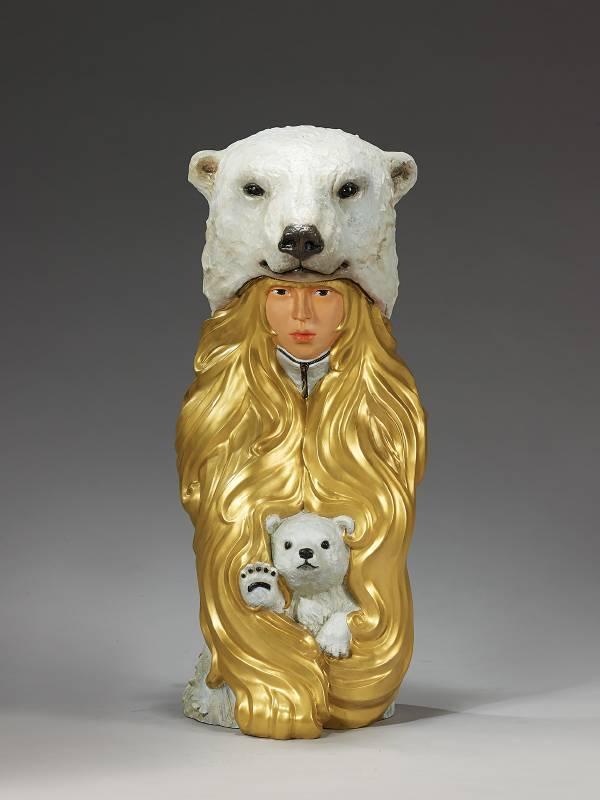 林國瑋|Fivefive Bear|32x32x81cm|銅、油彩上色|2019