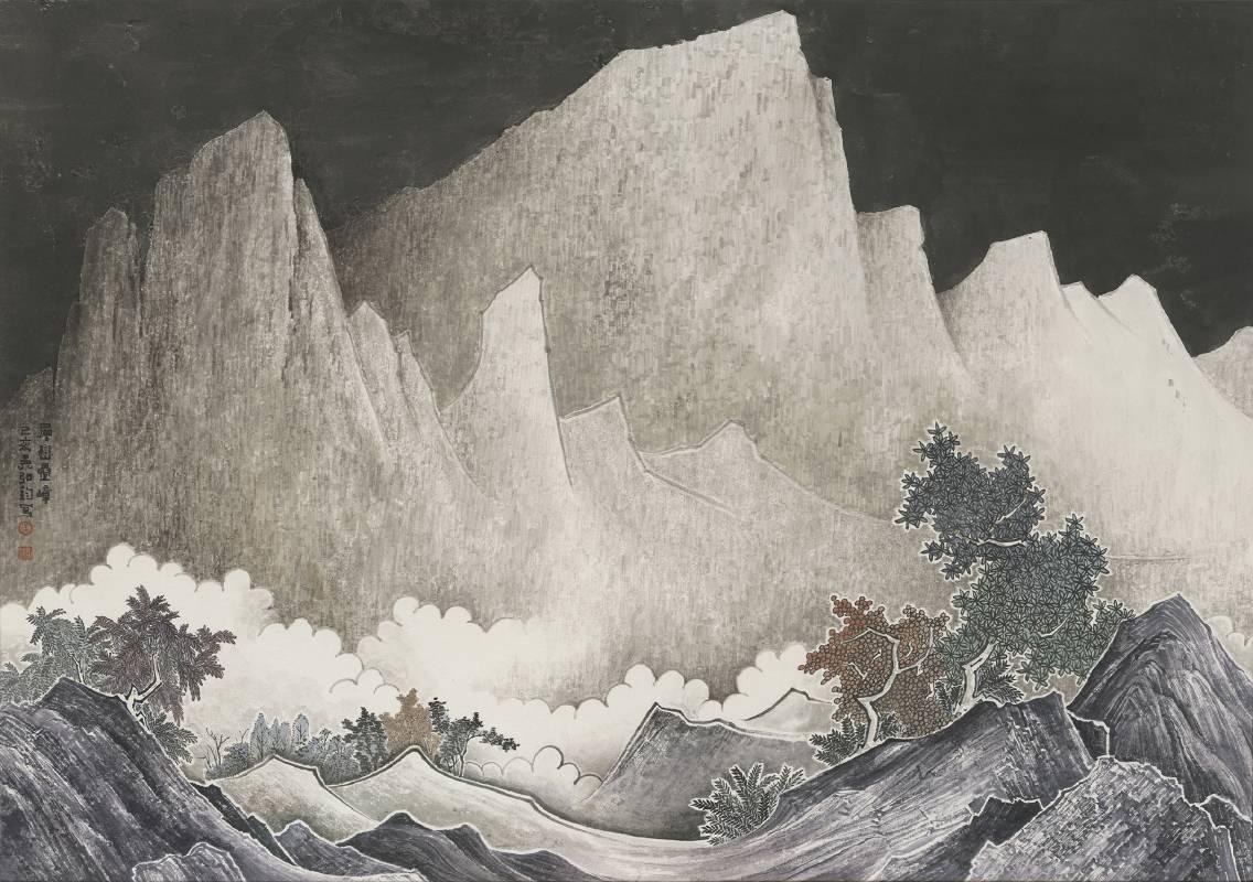吳弘鈞|仙山系列-層巒疊嶂|62x88cm|東方複合媒材|2020