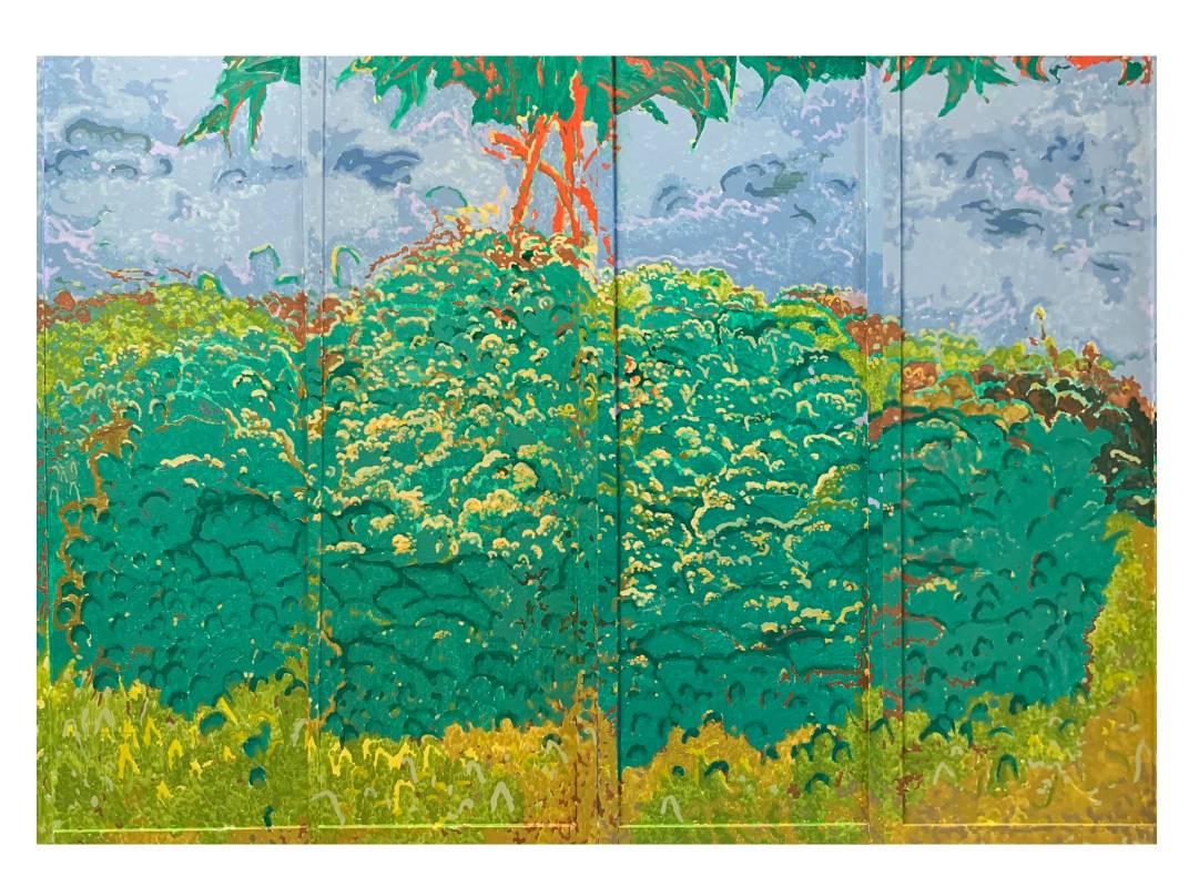潘麒方,《馬纓丹(屏風)》,油彩、畫布,2020