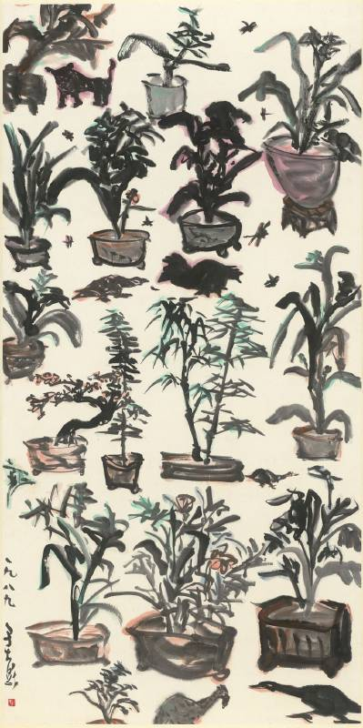 于彭 YU Peng 盆栽滿園  The Garden Full of Potted Planets  彩墨、紙本 Ink and color on paper  135.2x67.4cm  1989