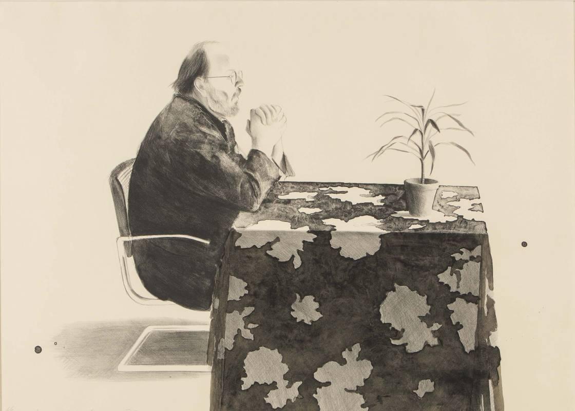 大衛霍克尼 - Henry at table 75.5X105.8cm  版畫 1976