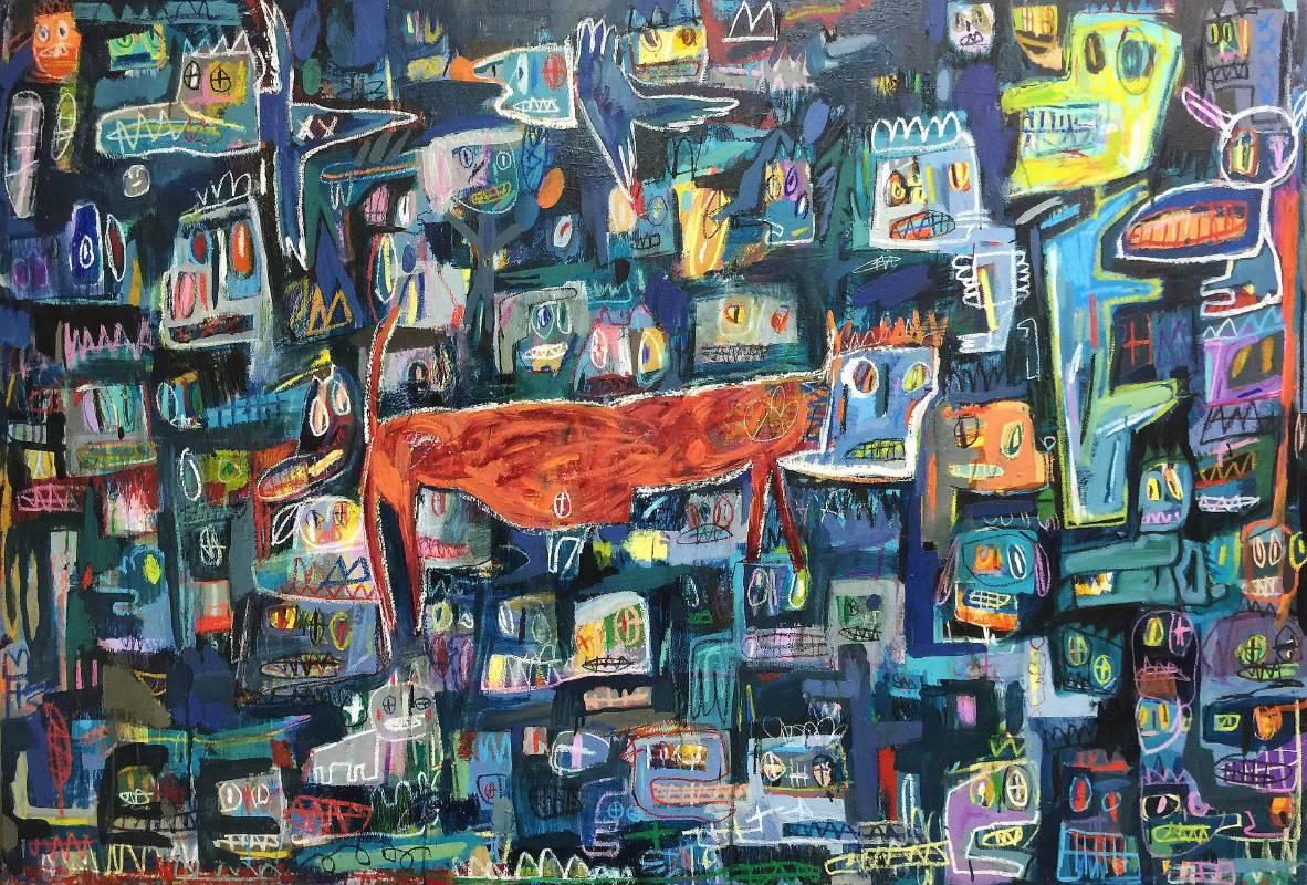 張瓊方-我發現自己宅在個框框裡-油彩 蠟筆 畫布-130x194cm-2016