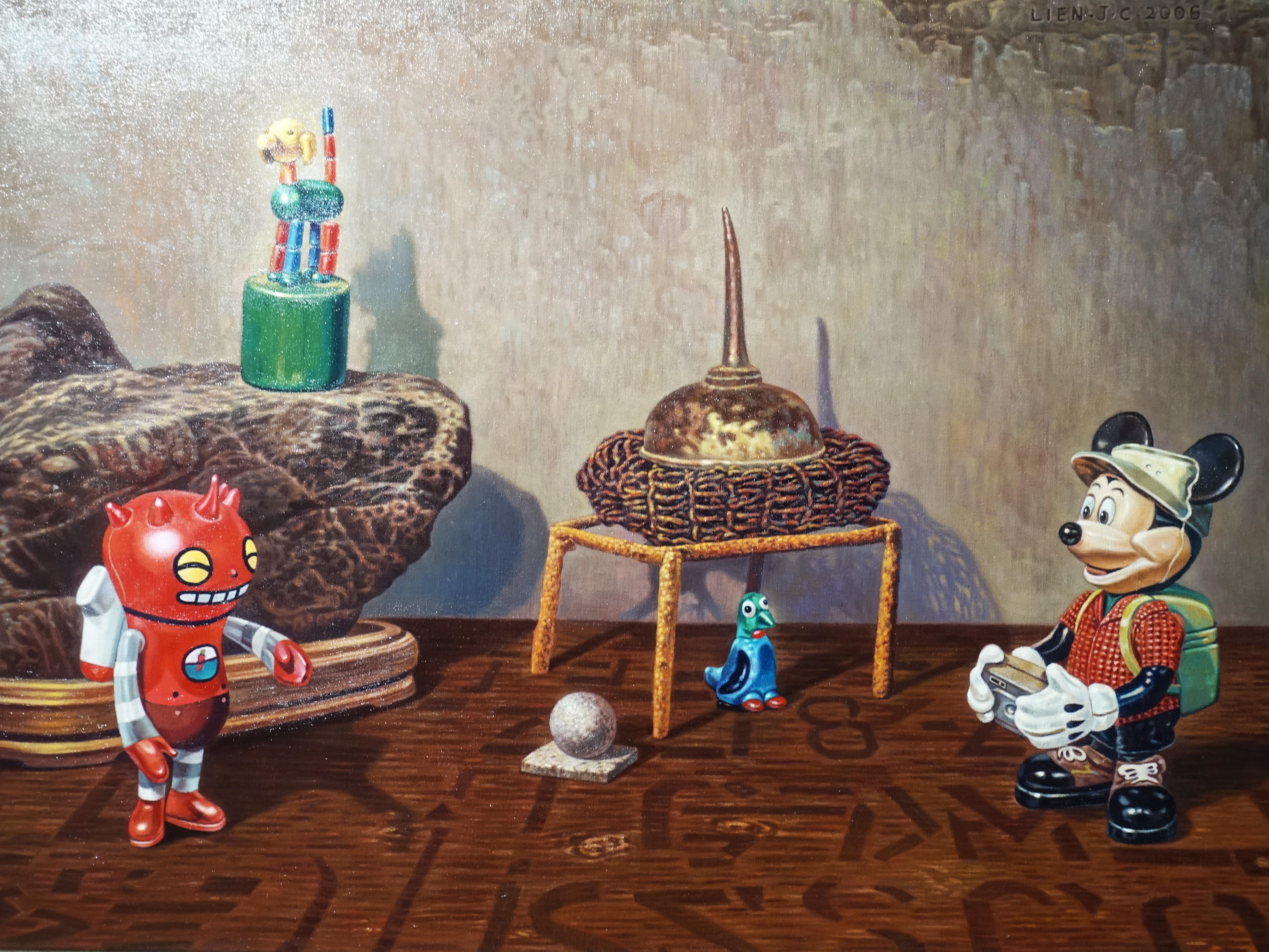 連建興,《叫我第一名》細節,91 x 65 cm,油彩、畫布,2006。