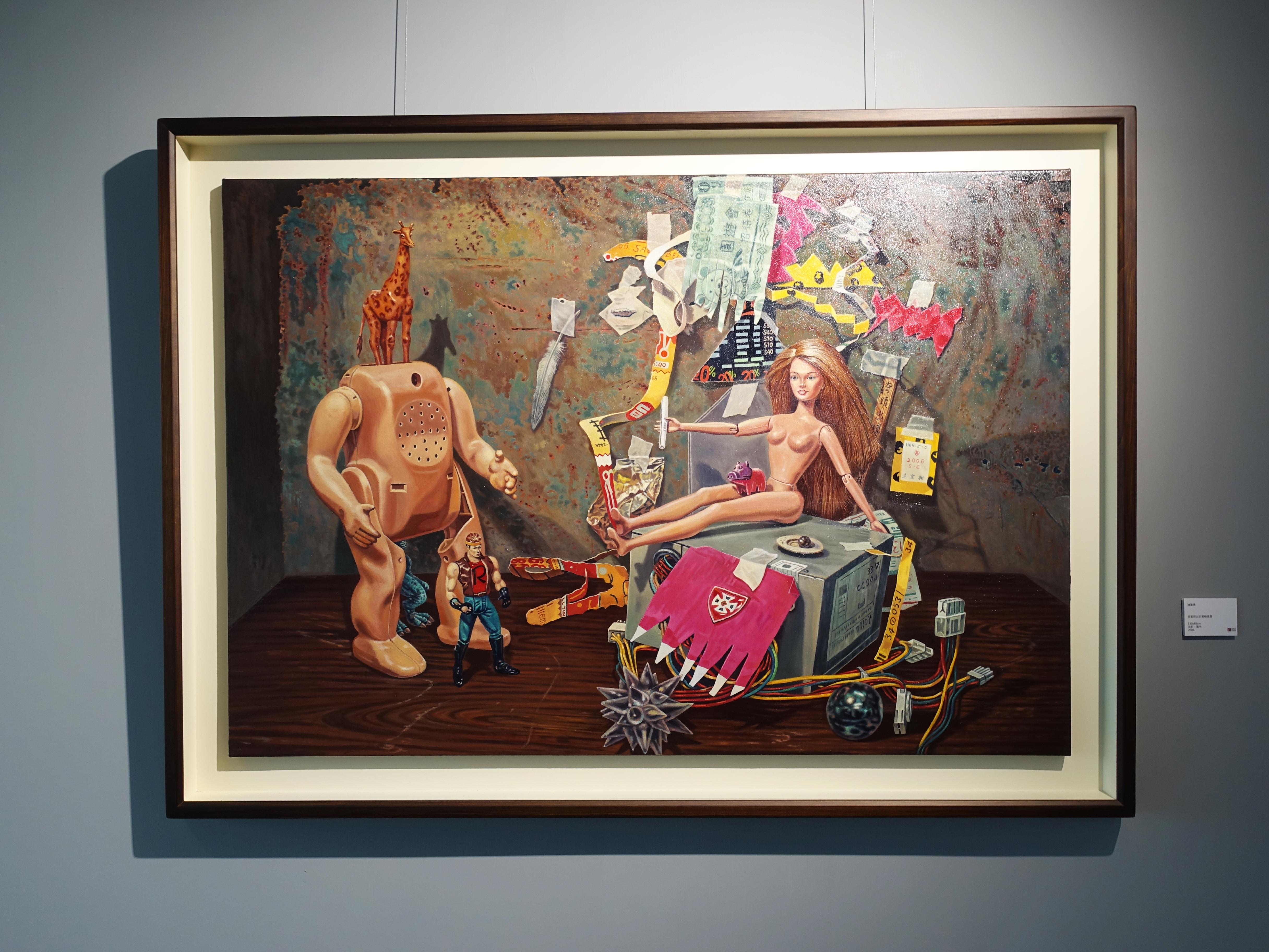 連建興,《金髮芭比的愛戀風雲》,130 x 89 cm,油彩、畫布,2006。