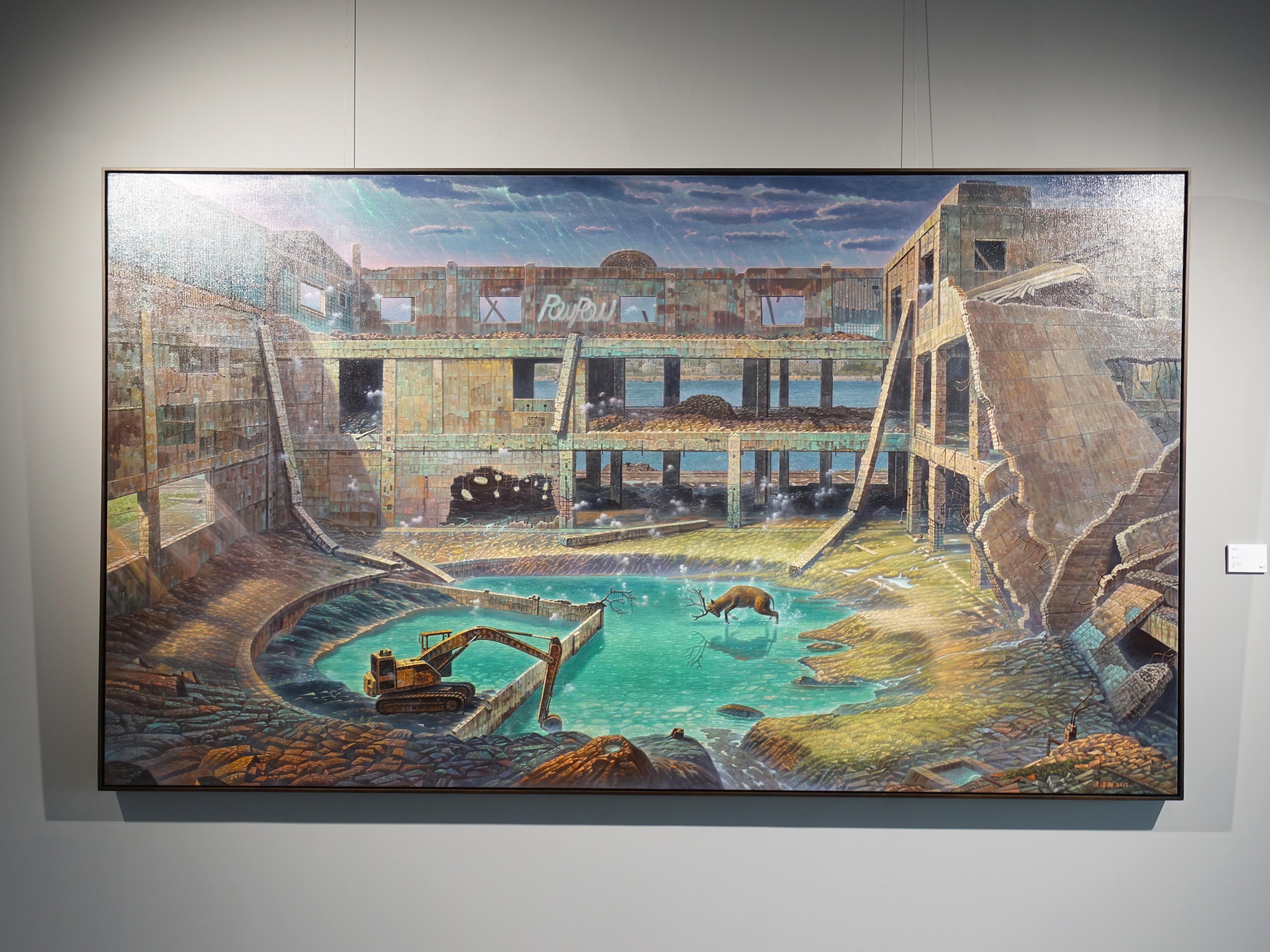 連建興,《奮起之鹿》細節,130 x 230 cm,油彩、畫布,2017。