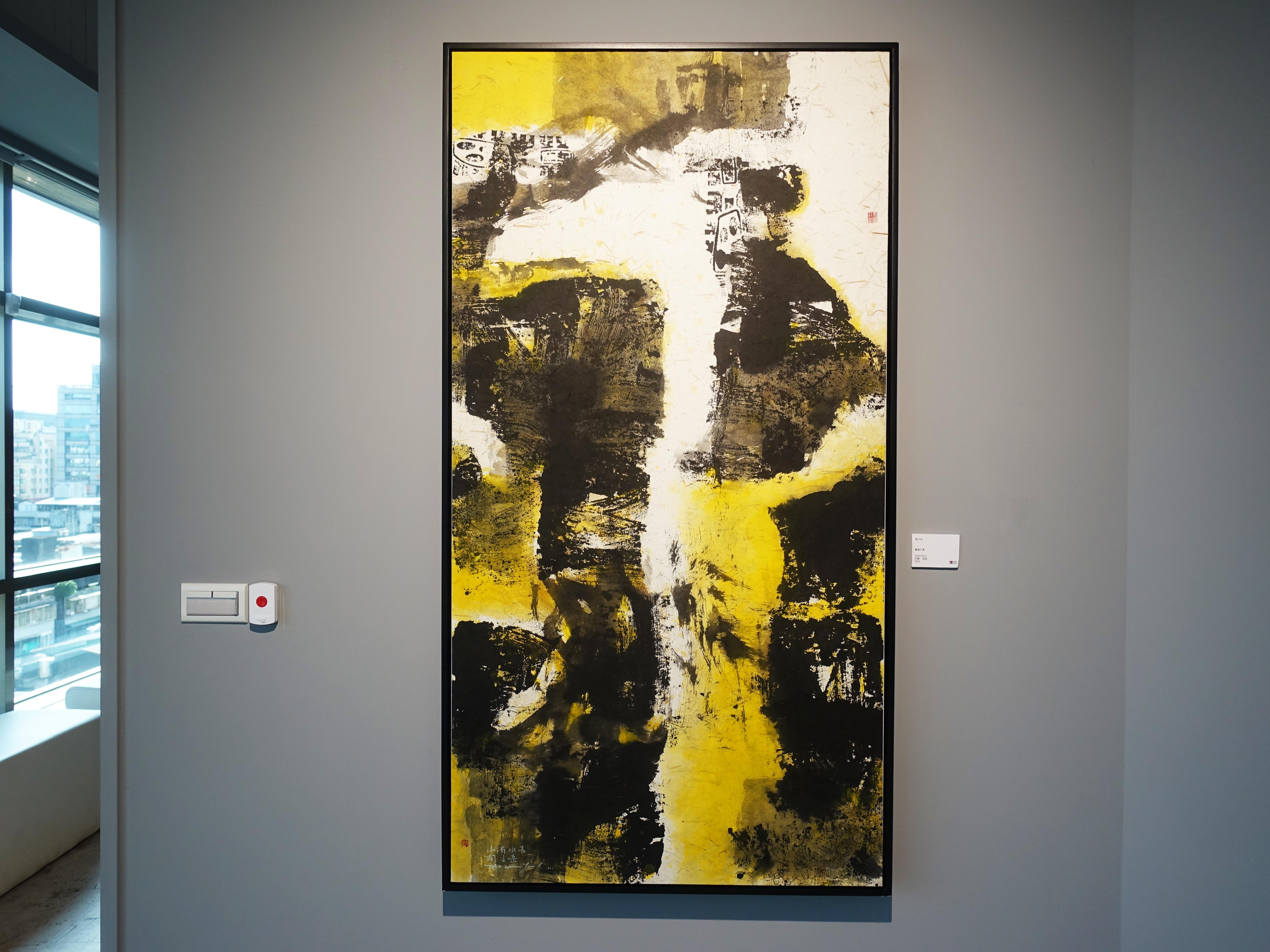 陶文岳,《蘶聳天瀑》,120 x 120 cm,油彩、畫布,2019。