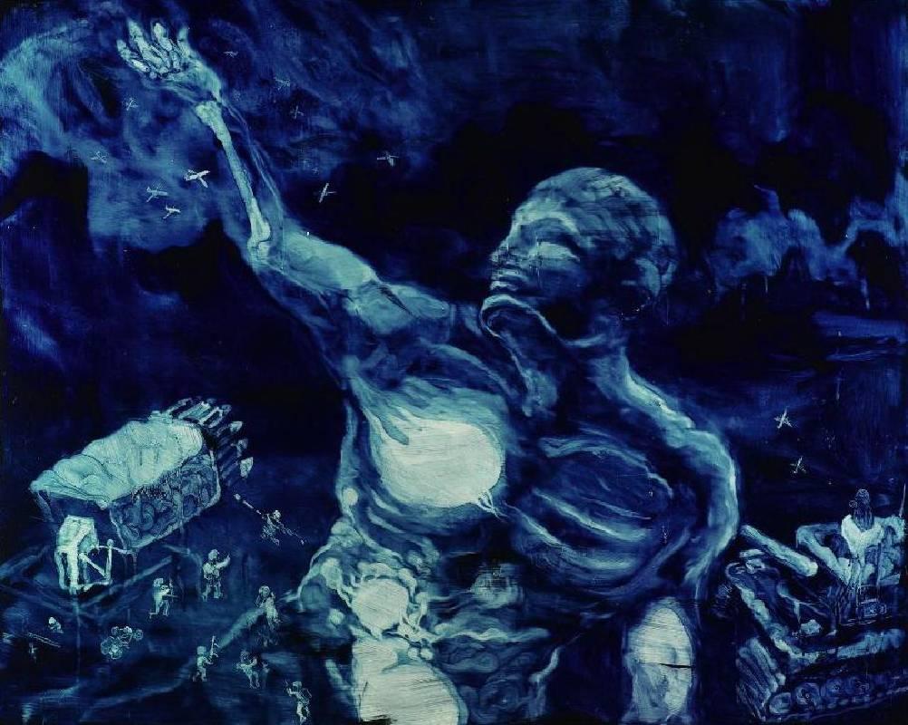 常陵 五花肉系列-肉宗教-呼風喚雨圖 2009 油彩 130x162cm