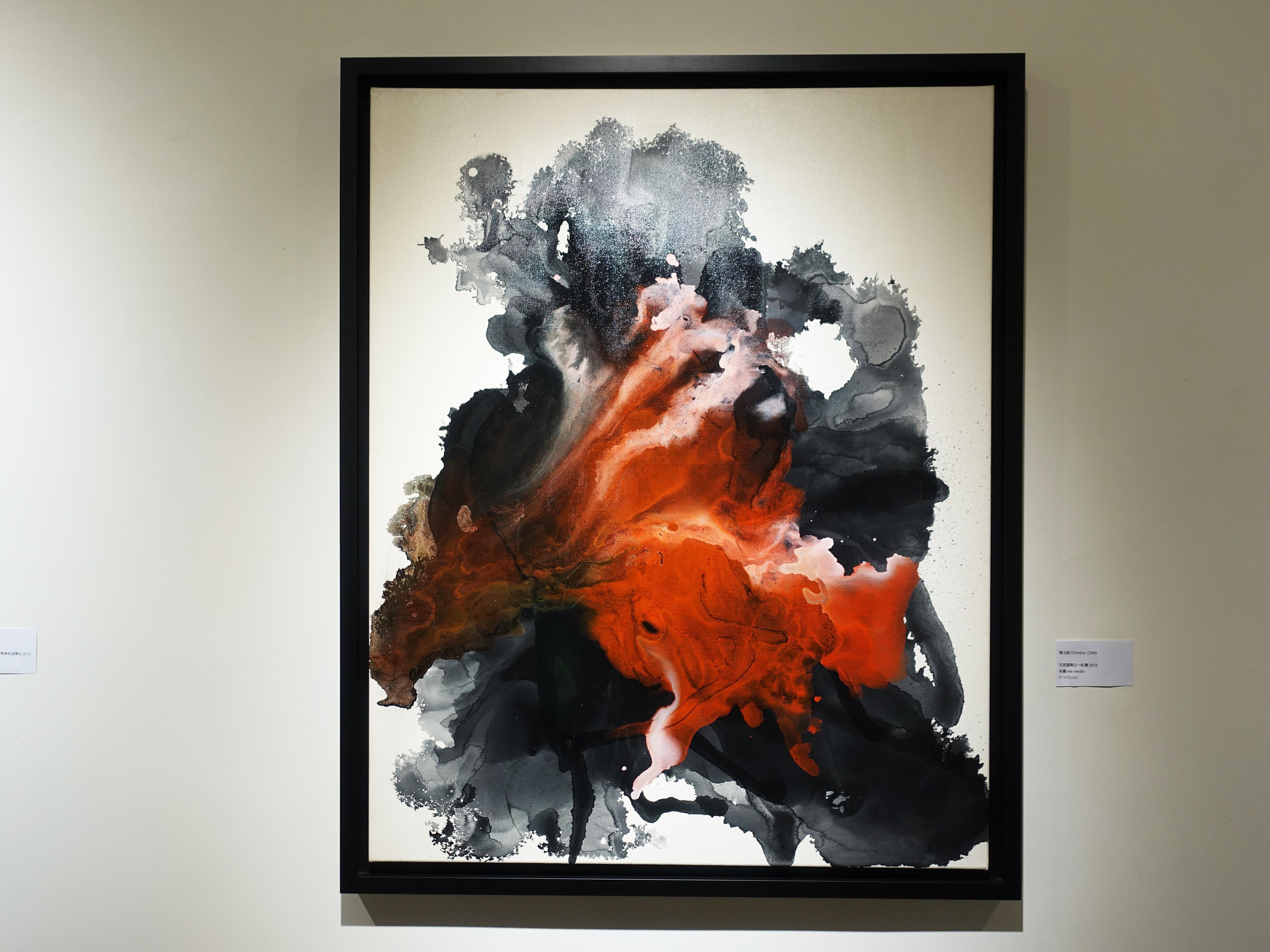 陳玉庭,《花若盛開之-紅墨》,91x72cm,彩墨,2018。