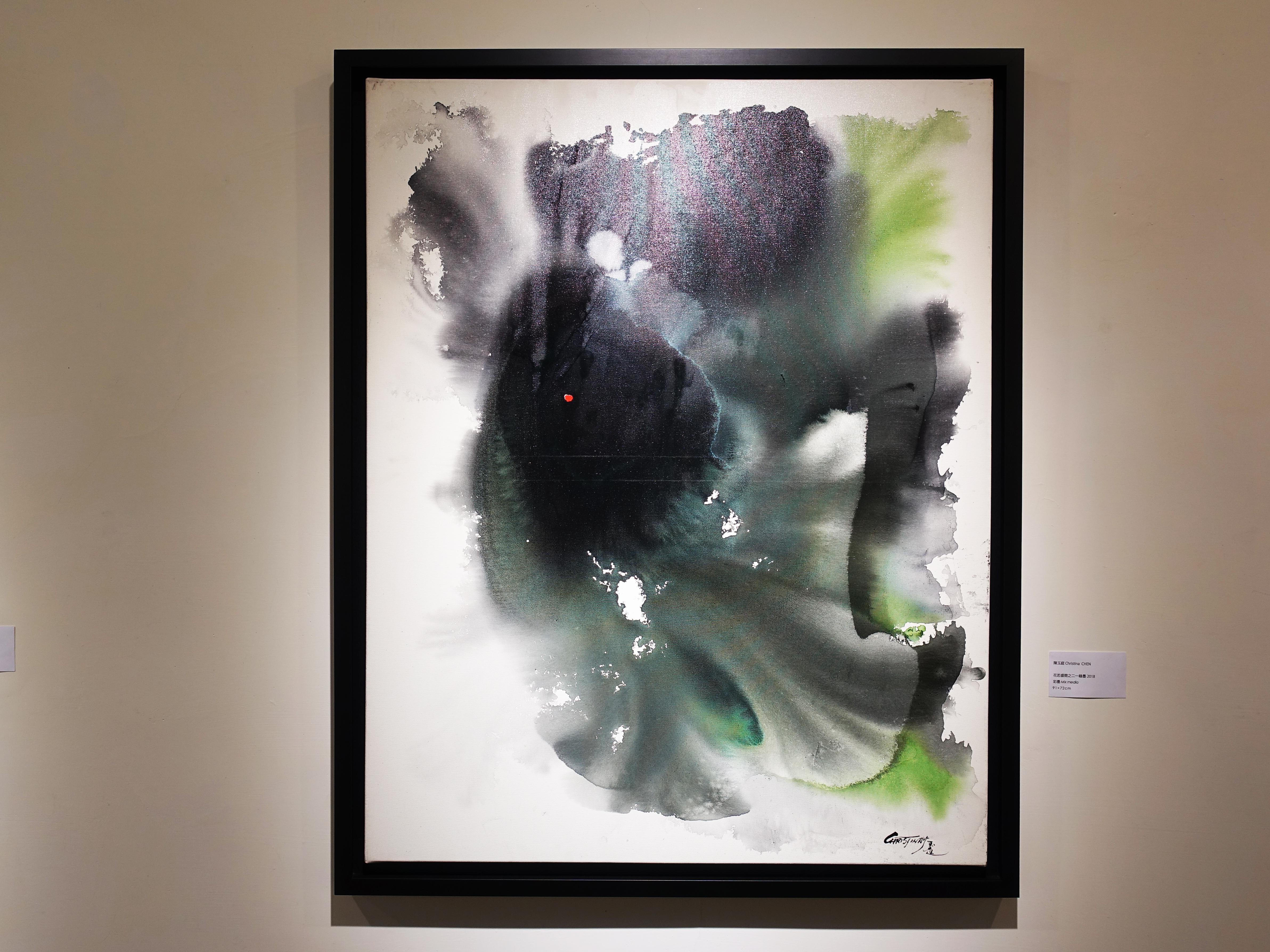 陳玉庭,《花若盛開之-綠墨》,91x72cm,彩墨,2018。