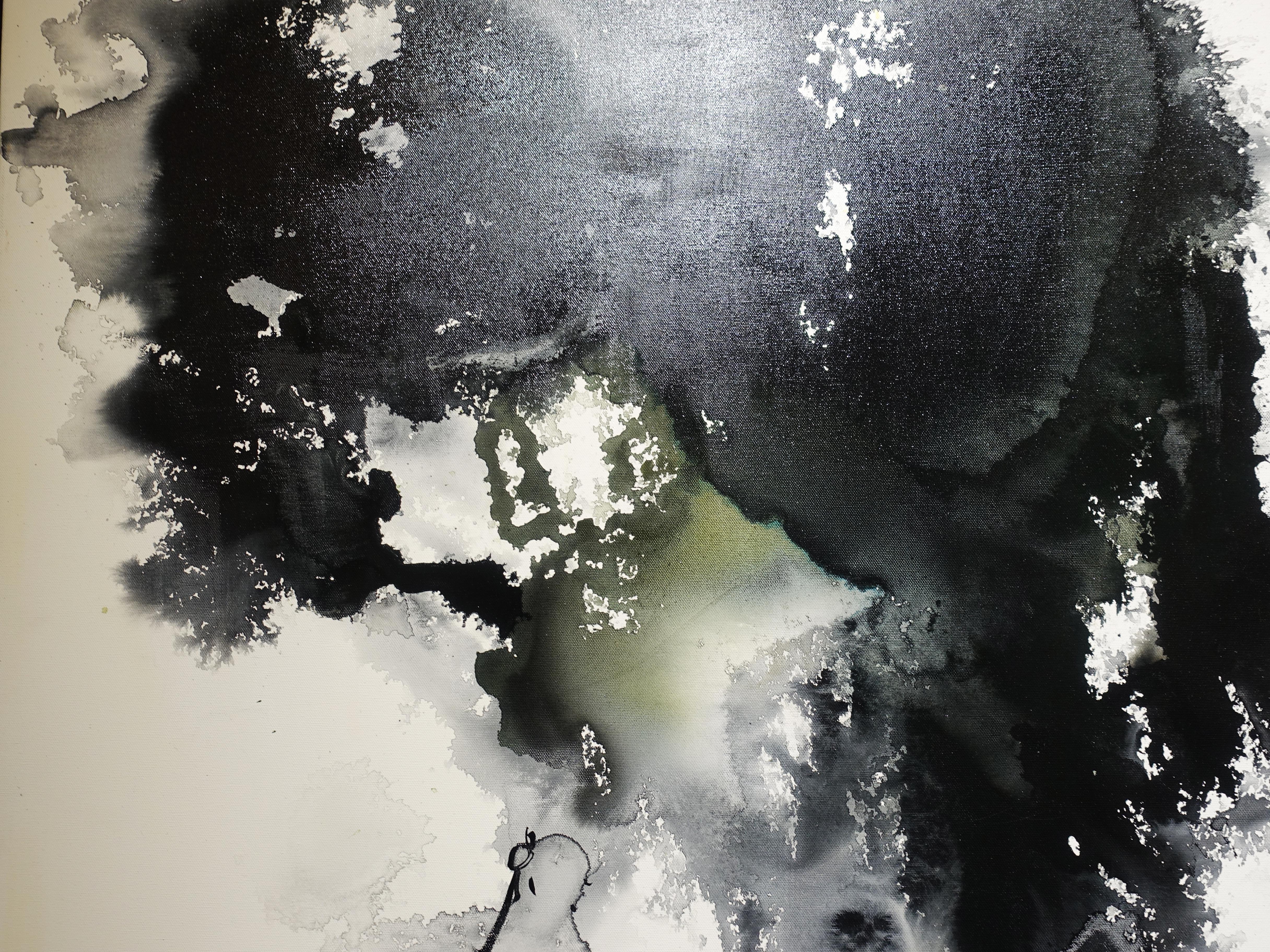 陳玉庭,《閒時讀書忙時作畫 無酒學佛有酒學先》細節,91x72cm,彩墨,2018。