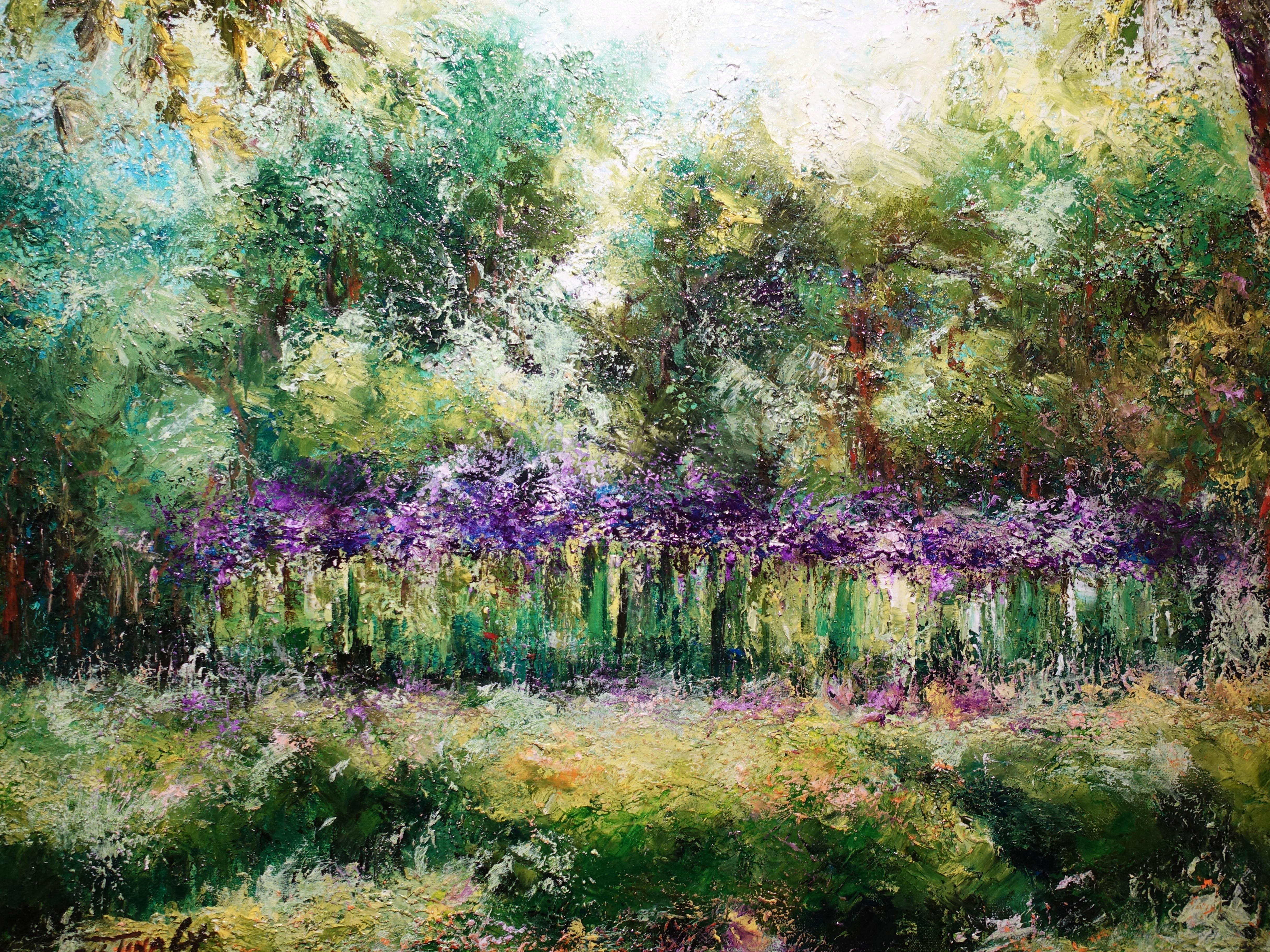 陳玉庭,《蘭花園-新加坡植物園》,91.5x91.5cm,油畫畫布,2011。