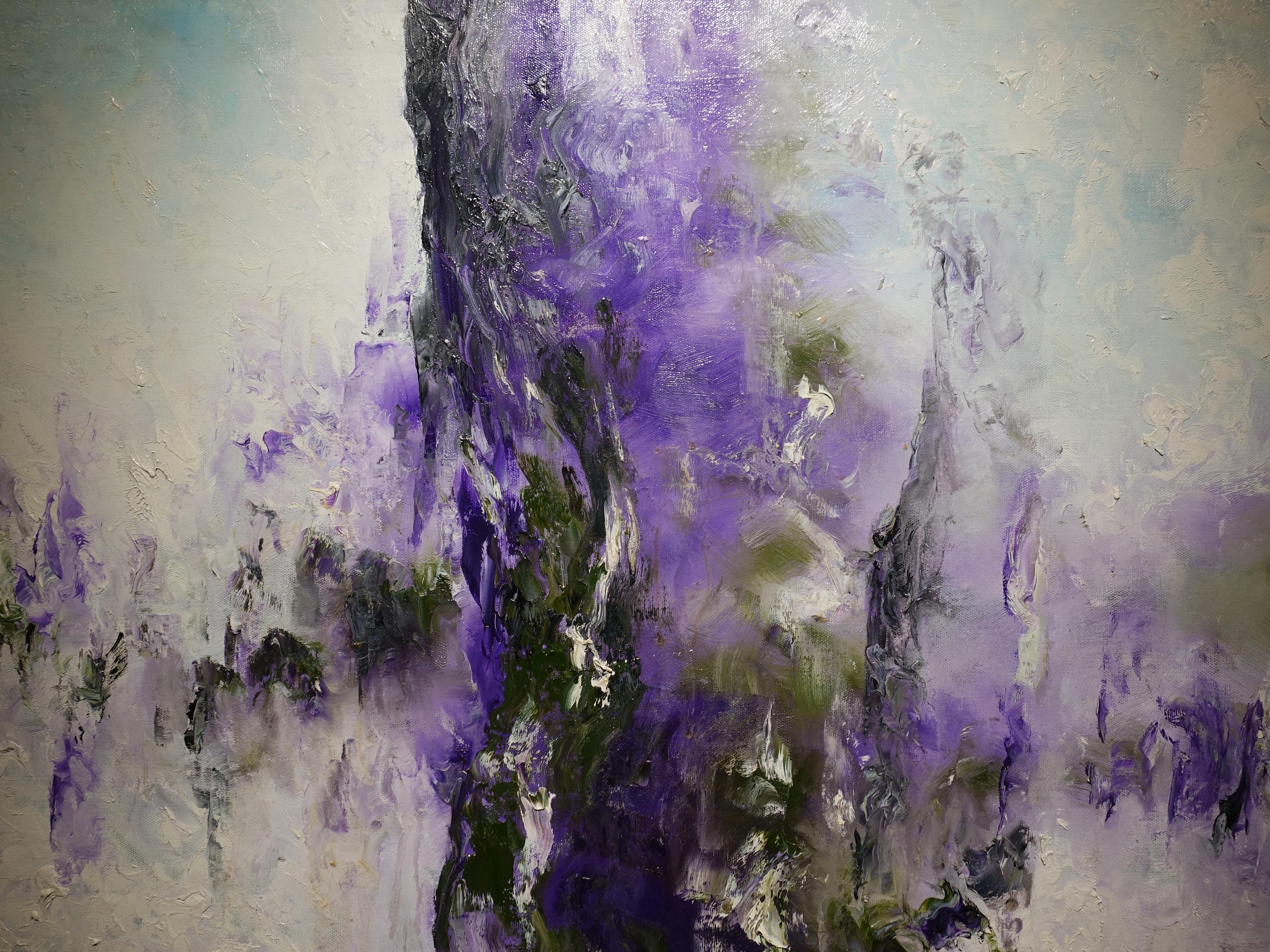 陳玉庭,《日照香爐生紫煙》細節,72x91cm,油畫畫布,2013。