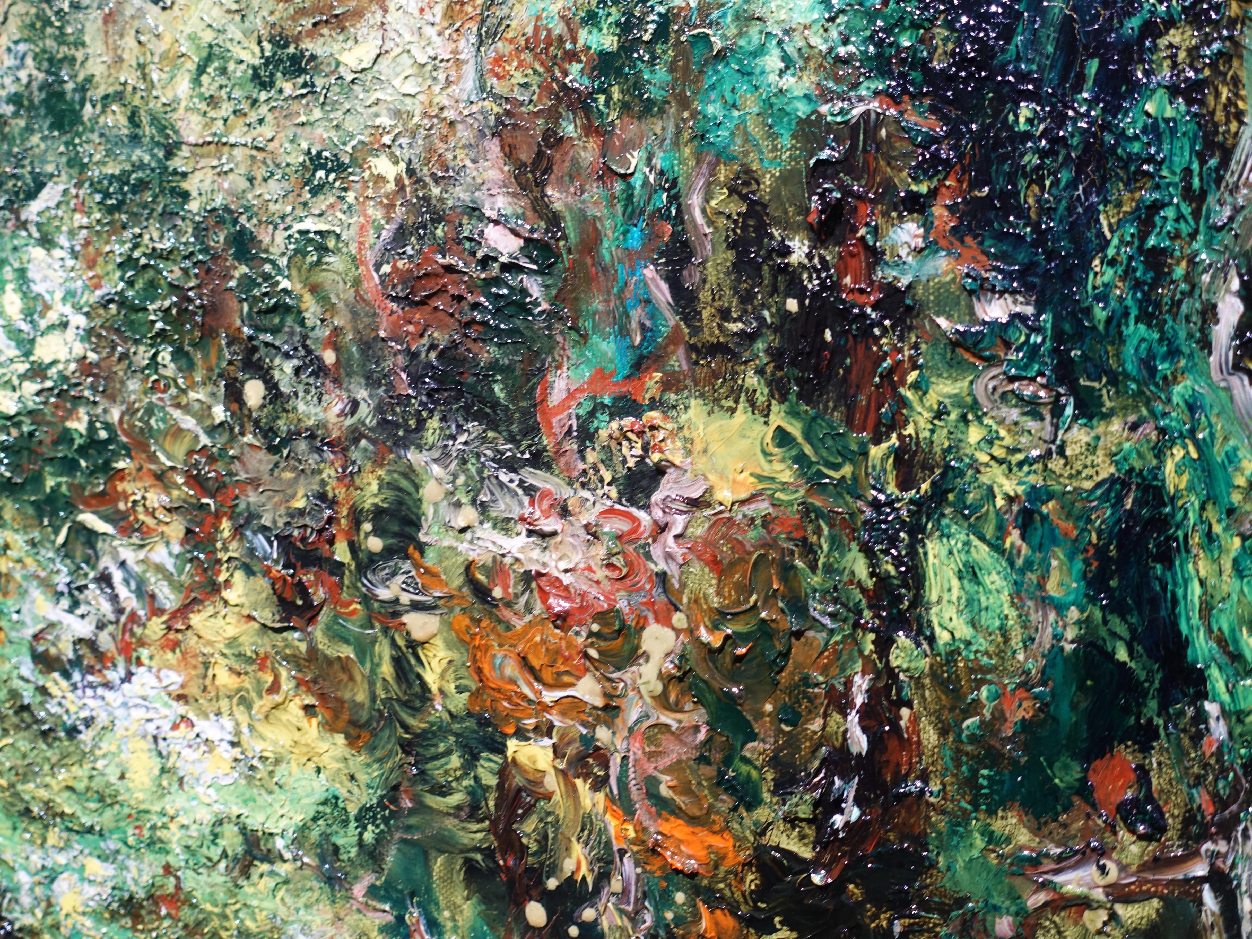 陳玉庭,《熱帶雨林-新加坡植物園》細節,91.5x91.5cm,油畫畫布,2011。