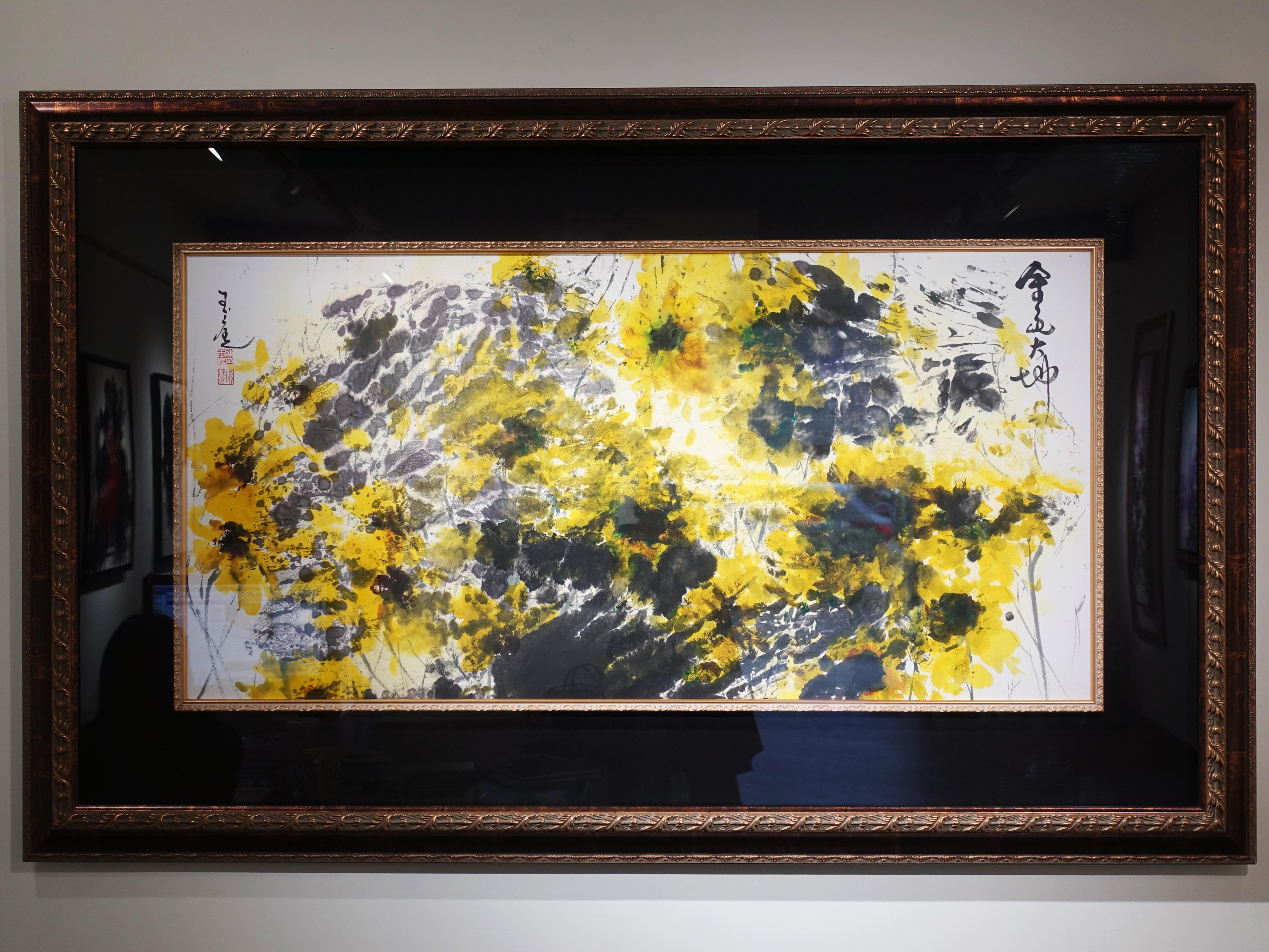 陳玉庭,《金色大地2017》,72x152cm,水墨紙本,2011。