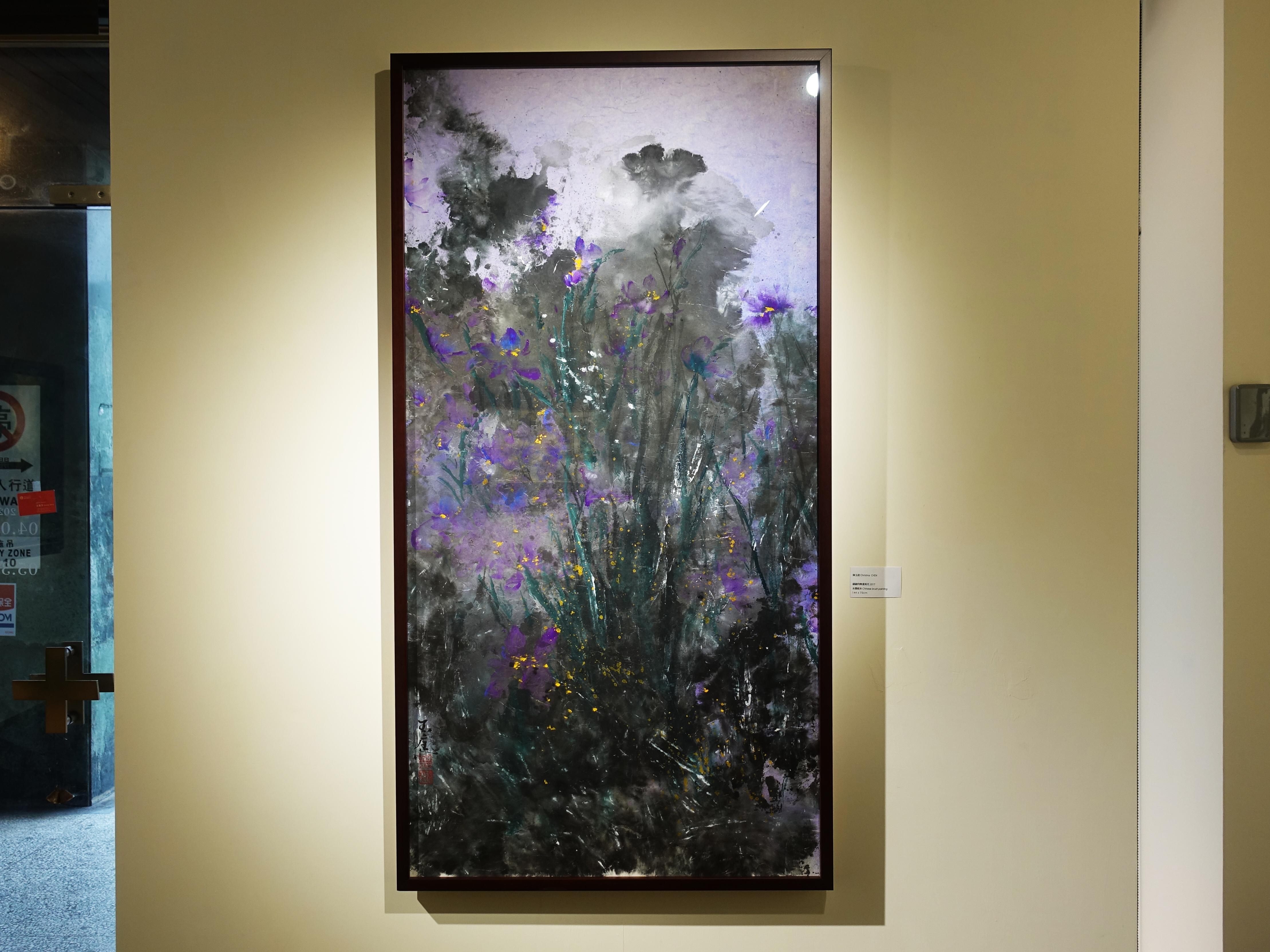 陳玉庭,《翩翩飛舞鳶尾花》,144x75cm,水墨紙本,2017。