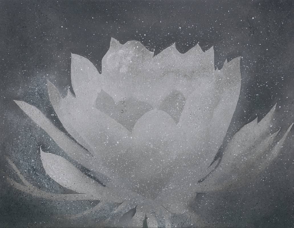 <凌晨的初醒>,41x31.5 cm,壓克力、油彩、畫布板,2019