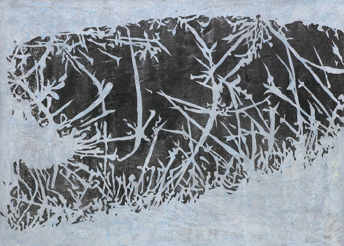 <池>,109.2x78.7 cm,壓克力、鉛筆、噴漆、紙本,2019