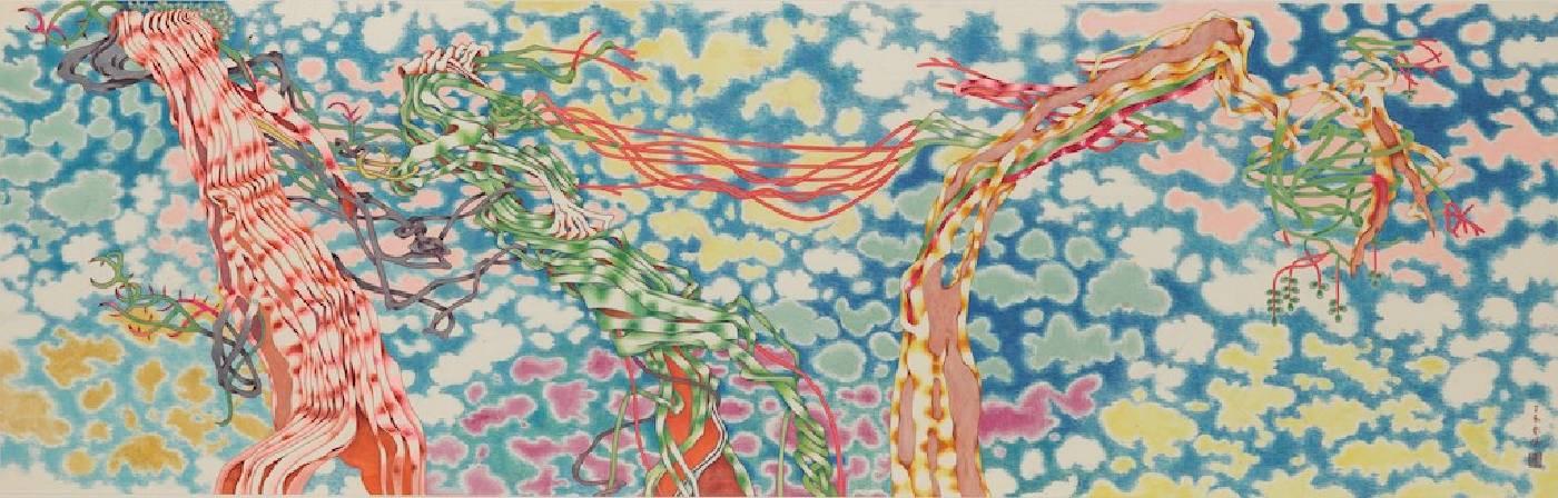 袁旃,〈三人行必有我師〉,2007年,水墨設色、紙本,58 x 180 cm,國立臺灣美術館典藏