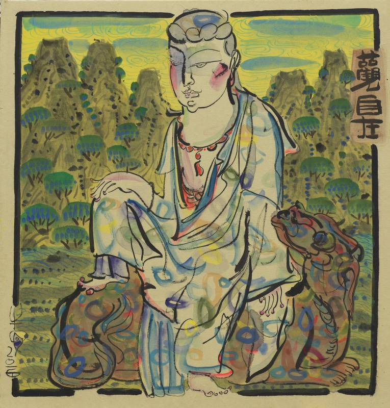 牛安 Ann Niu / 山水觀音–觀自在Y – Buddha with Landscape – Grace of Guanyin Y 73cm x 70cm  紙本水墨Ink on paper on canvas 2016