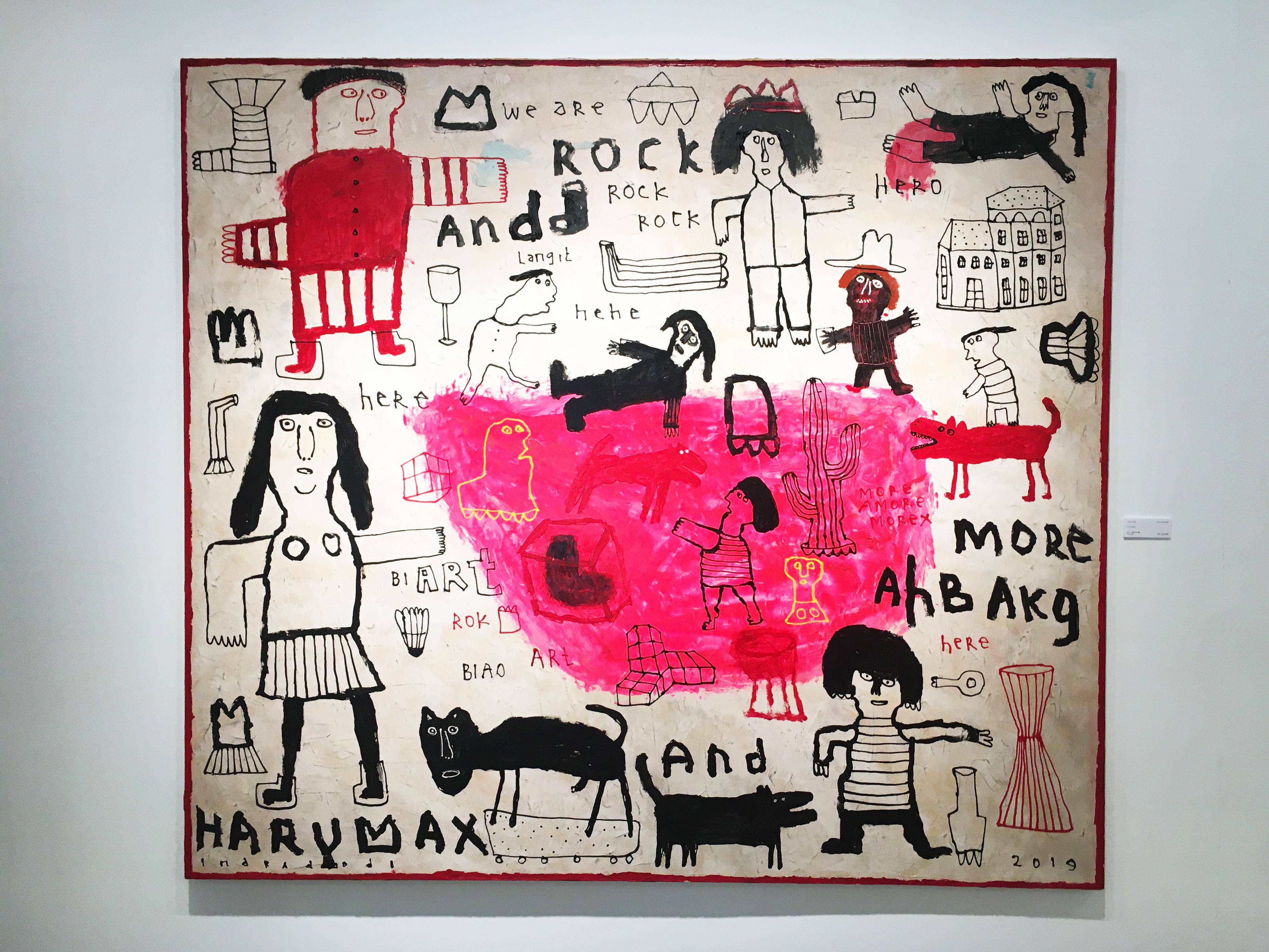 Indra Dodi,《Pink Note》,160 x 180 cm,壓克力彩、畫布,2019。