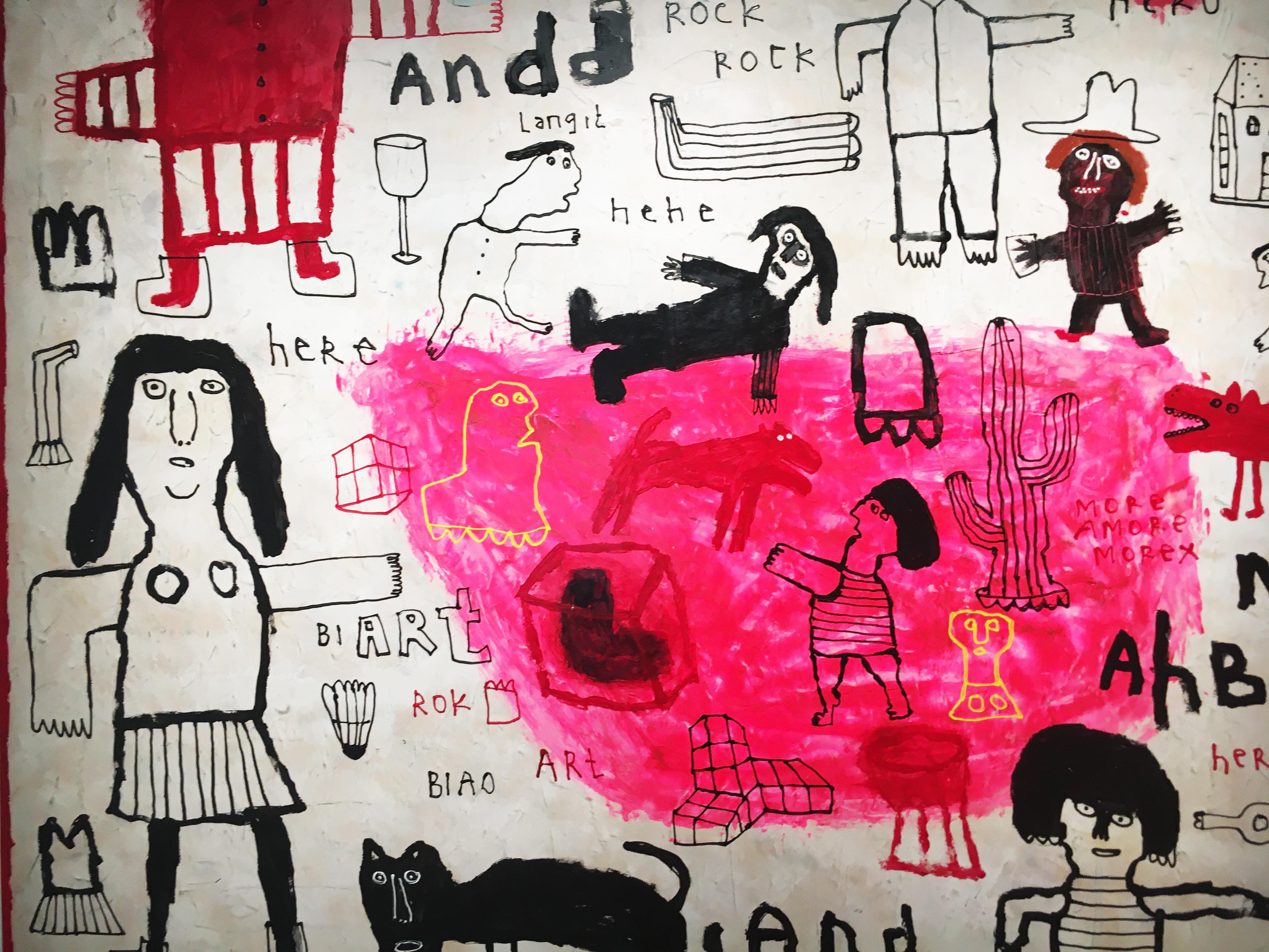 Indra Dodi,《Pink Note》細節,160 x 180 cm,壓克力彩、畫布,2019。