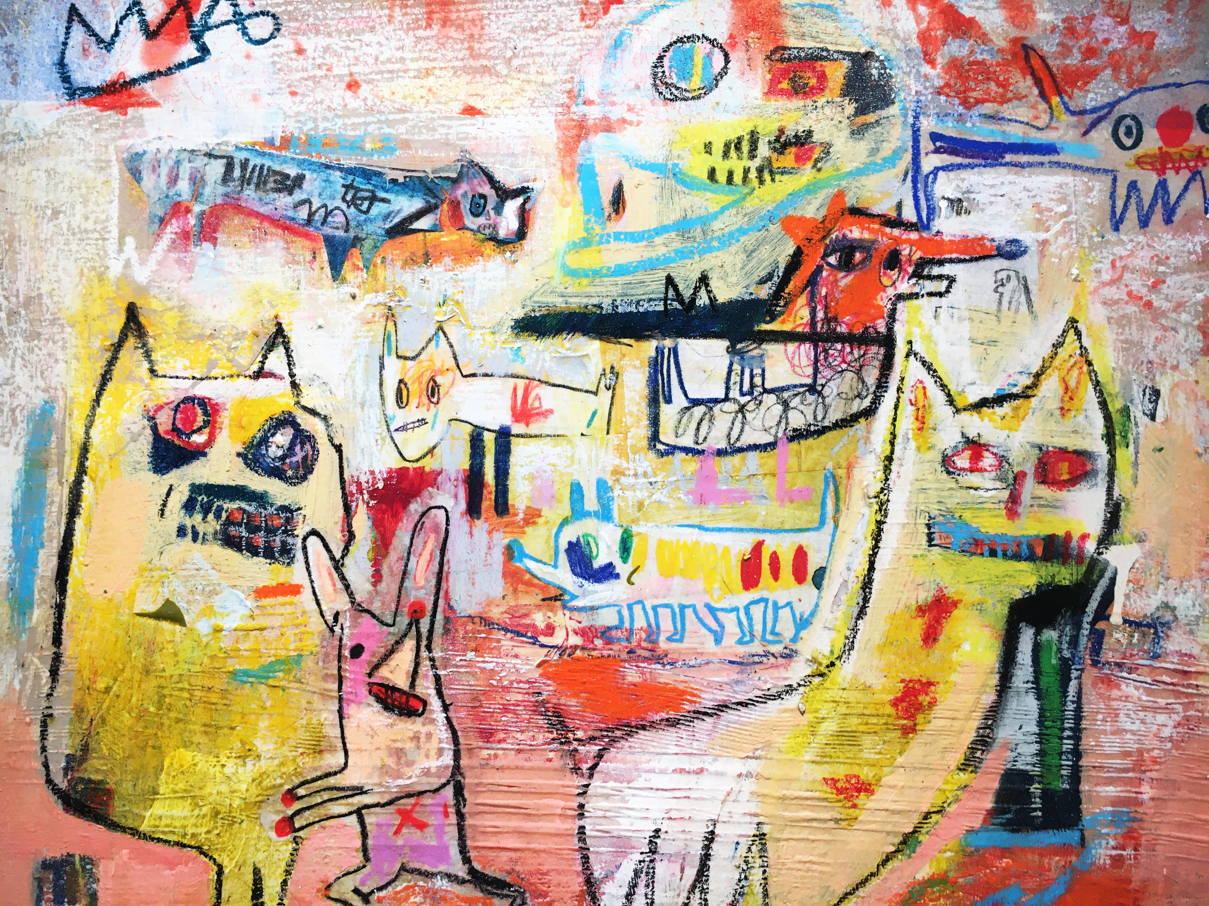 張瓊方,《左顧右盼》細節,50 x 61 cm,油彩、蠟筆、畫布,2019。