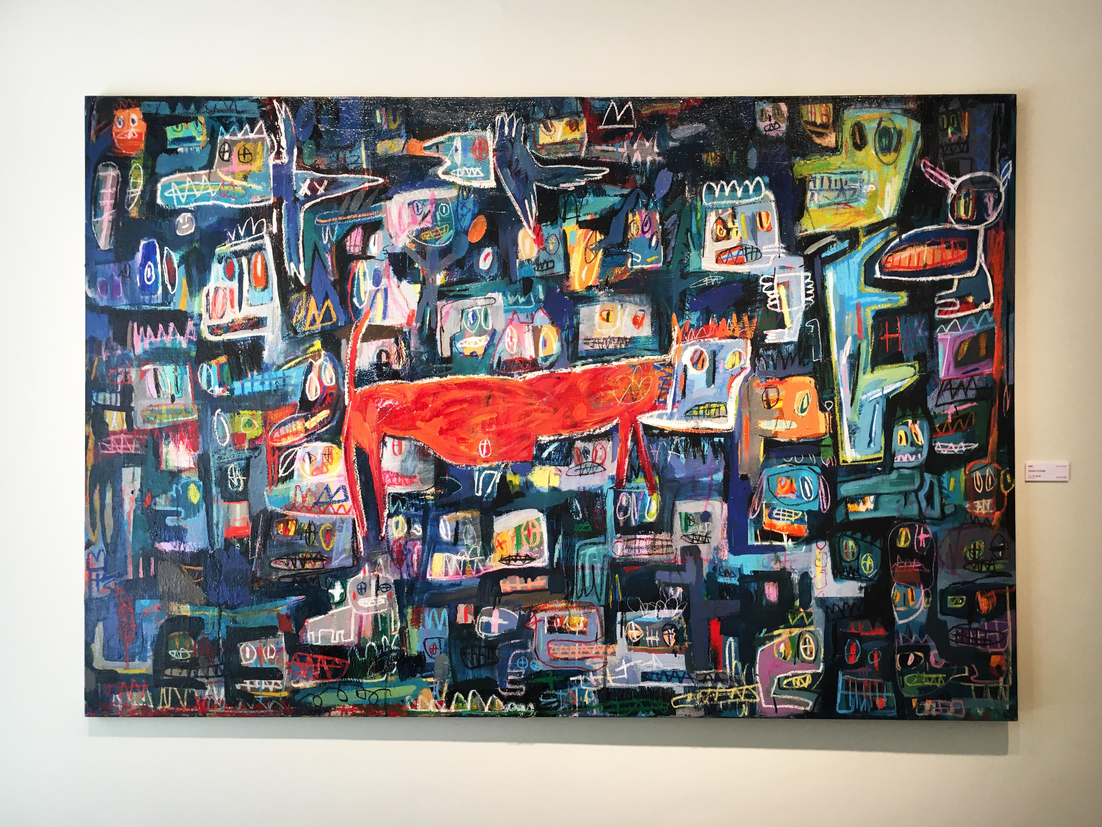 張瓊方,《我發現自己宅在框框裡》,130 x 194 cm,油彩、蠟筆、畫布,2016。
