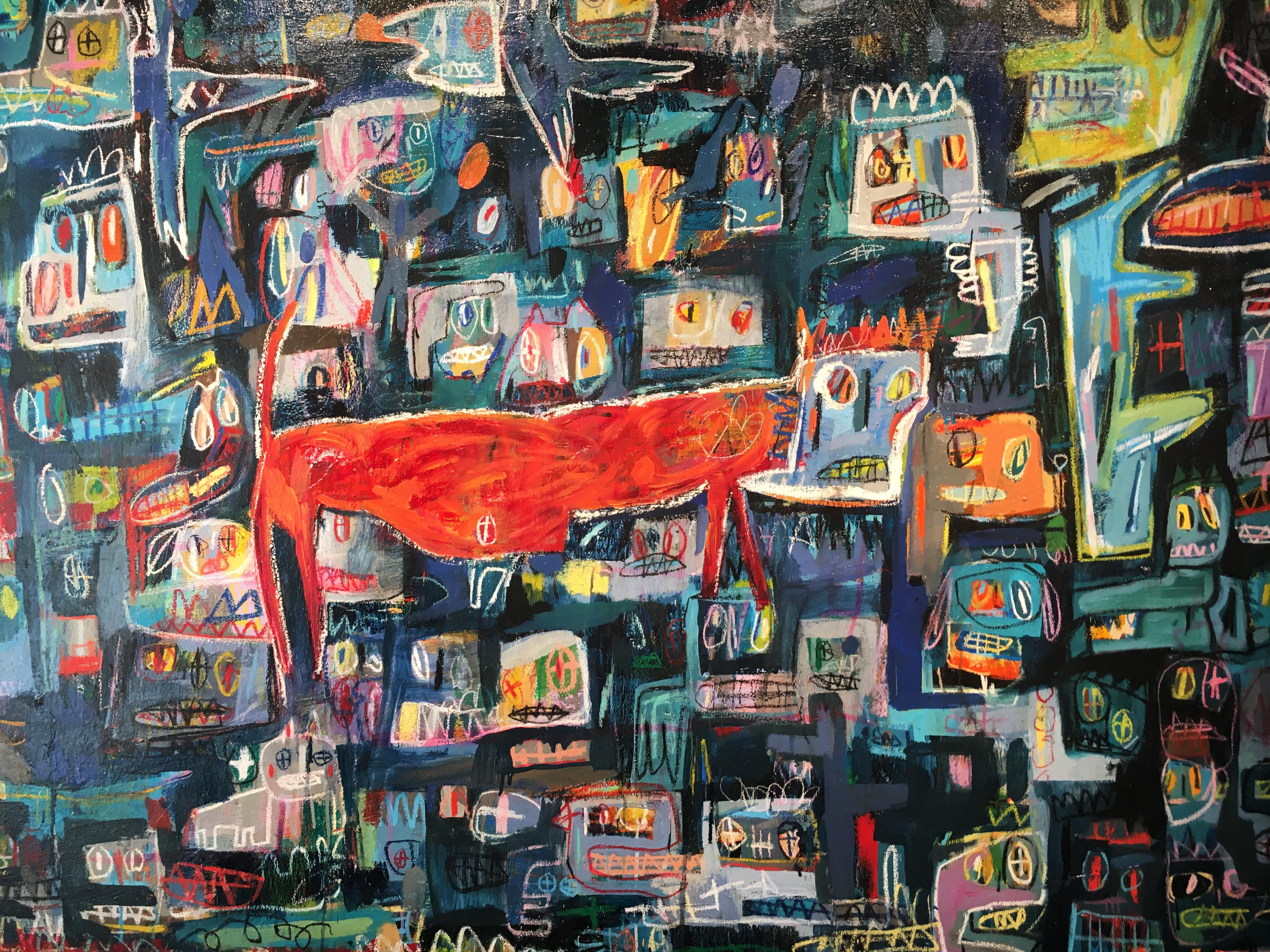 張瓊方,《我發現自己宅在框框裡》細節,130 x 194 cm,油彩、蠟筆、畫布,2016。