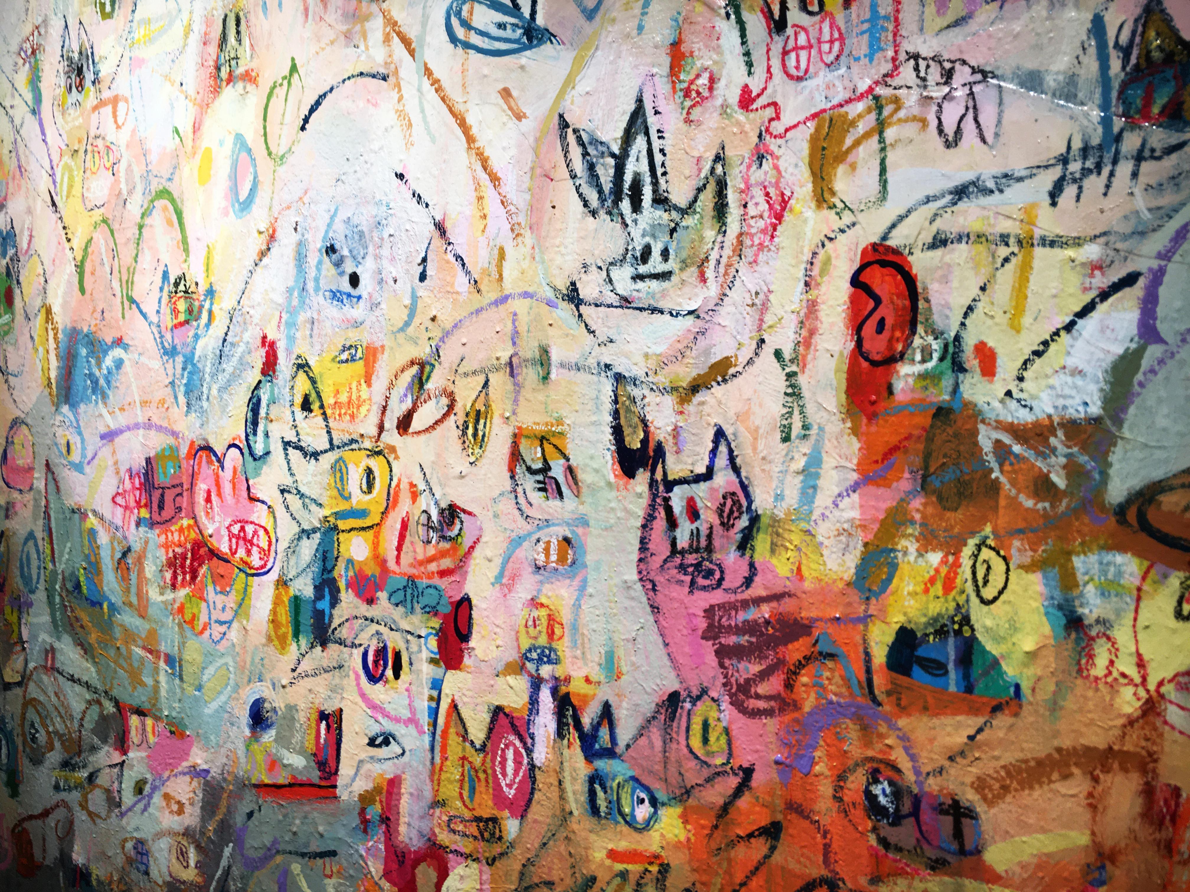 張瓊方,《Mascleta》,160 x 160 cm,油彩、壓克力、蠟筆、畫布,2016。
