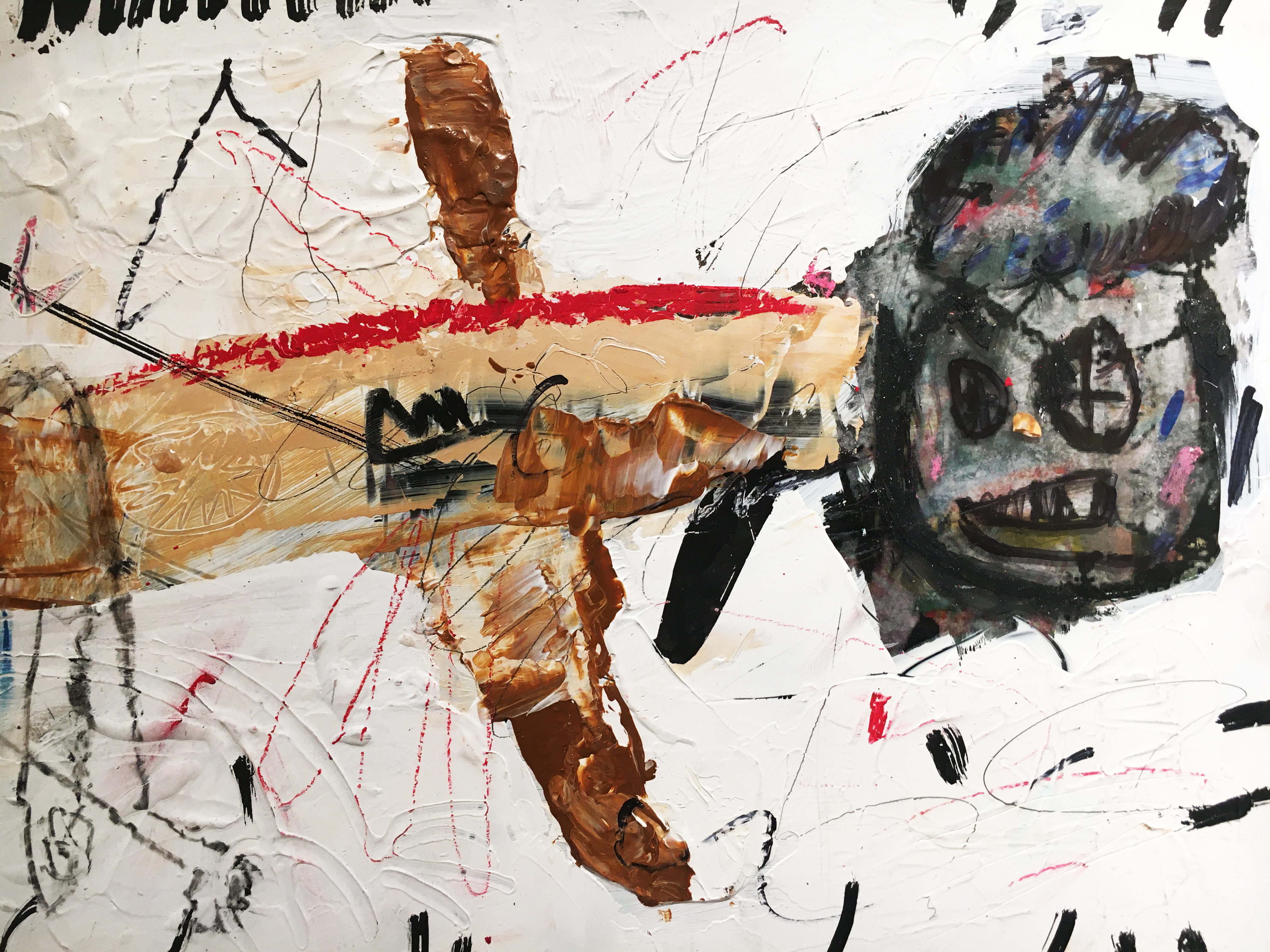 張瓊方,《蜻蜓》,25 x 35 cm,油彩、蠟筆、畫布、壓克力板,2020。
