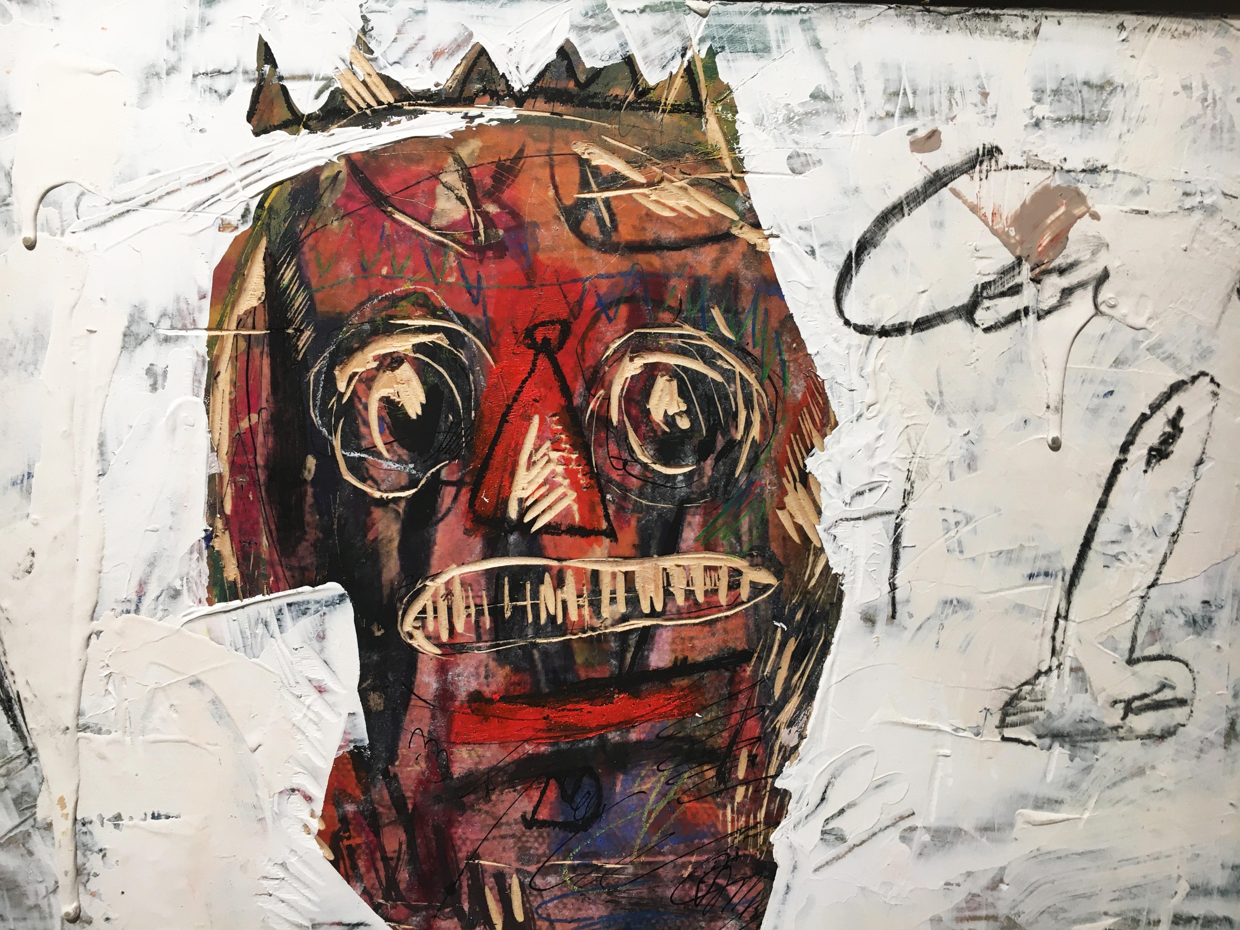 張瓊方,《一人分飾二角》,30 x 45 cm,油彩、蠟筆、畫布、壓克力板,2020。