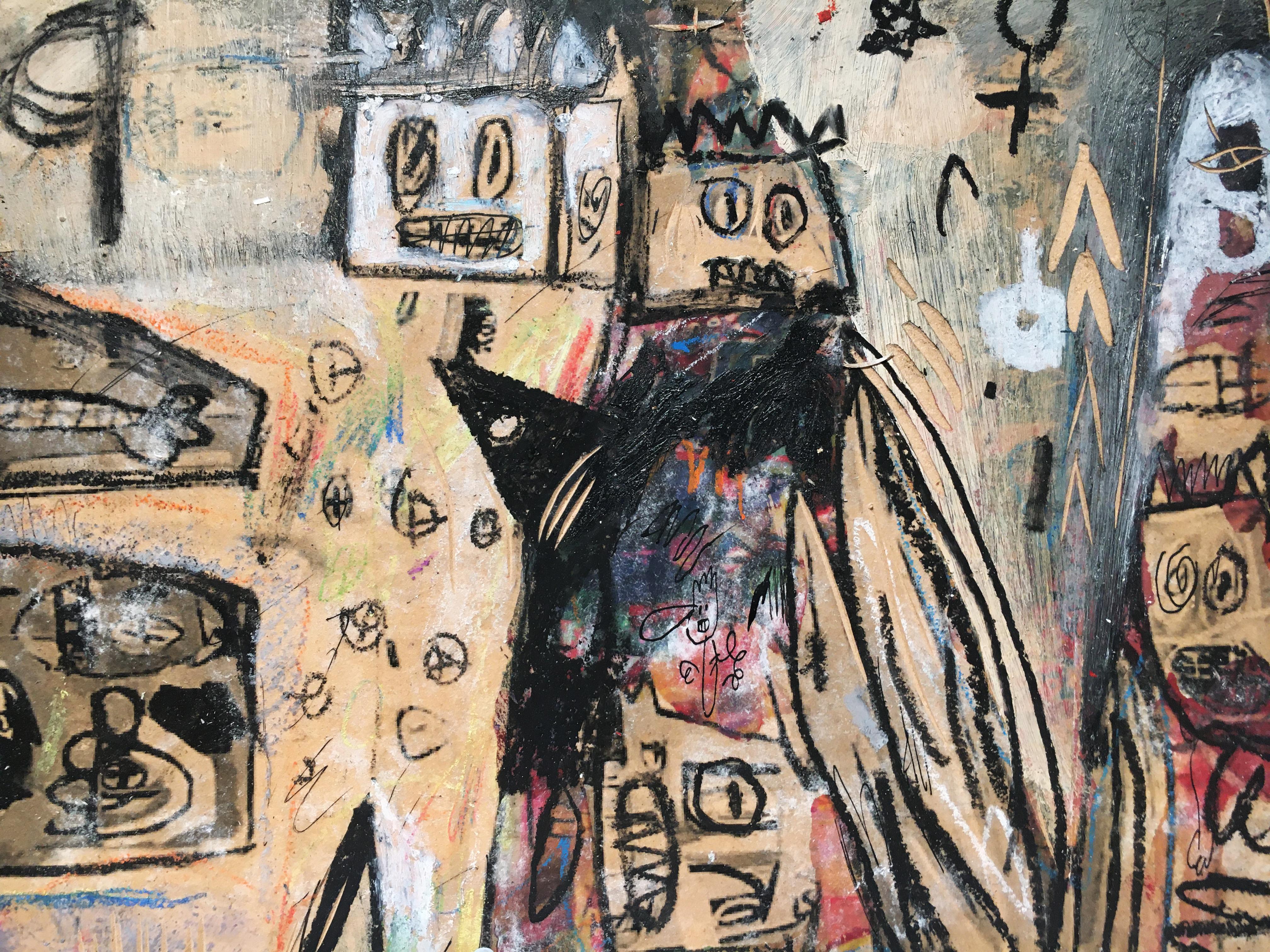 張瓊方,《媽媽與女兒的一日》細節,25 x 35 cm,油彩、蠟筆、木板、壓克力板,2020。