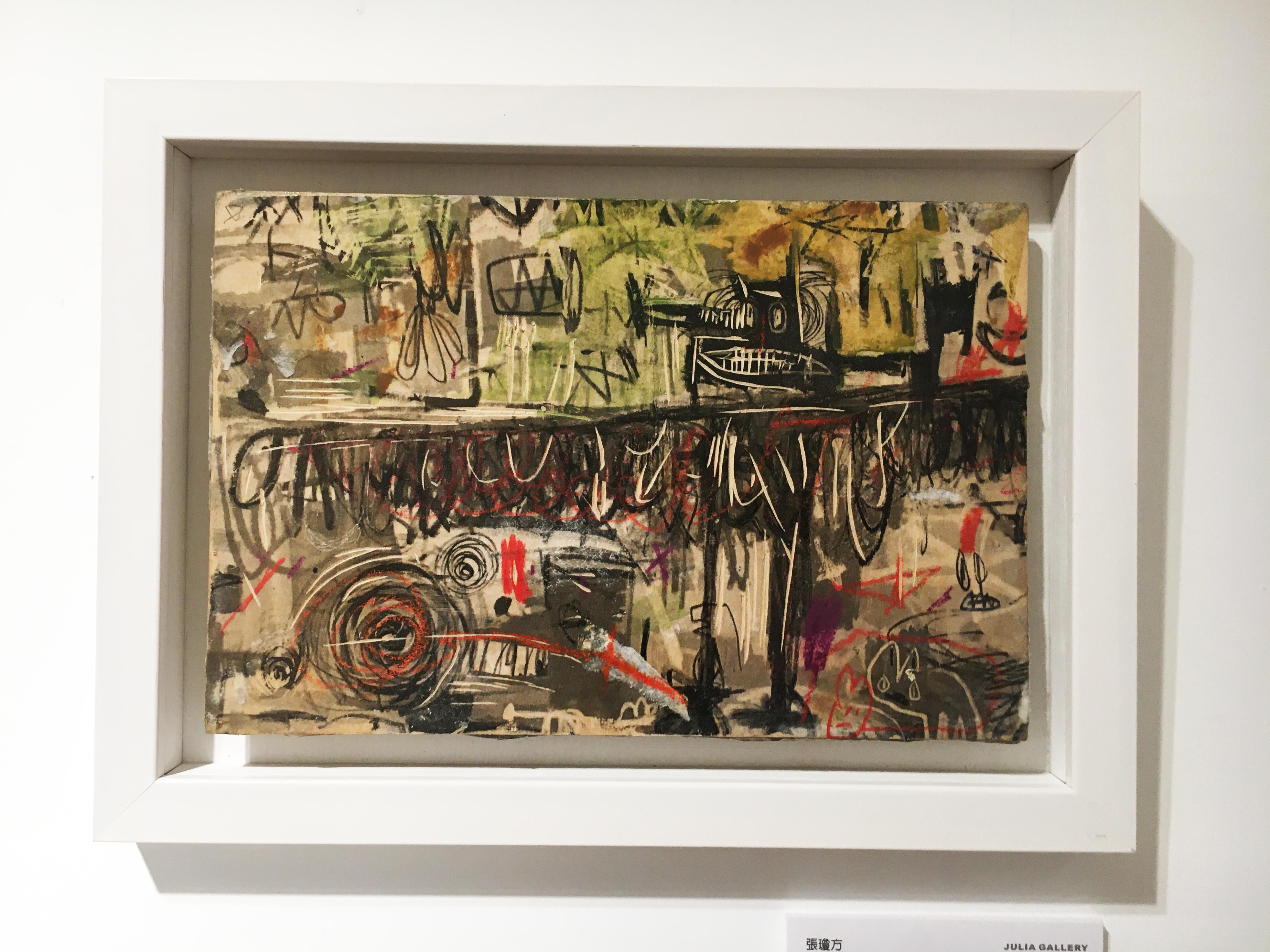 張瓊方,《黑鳥》,25 x 35 cm,油彩、蠟筆、木板、壓克力板,2018。
