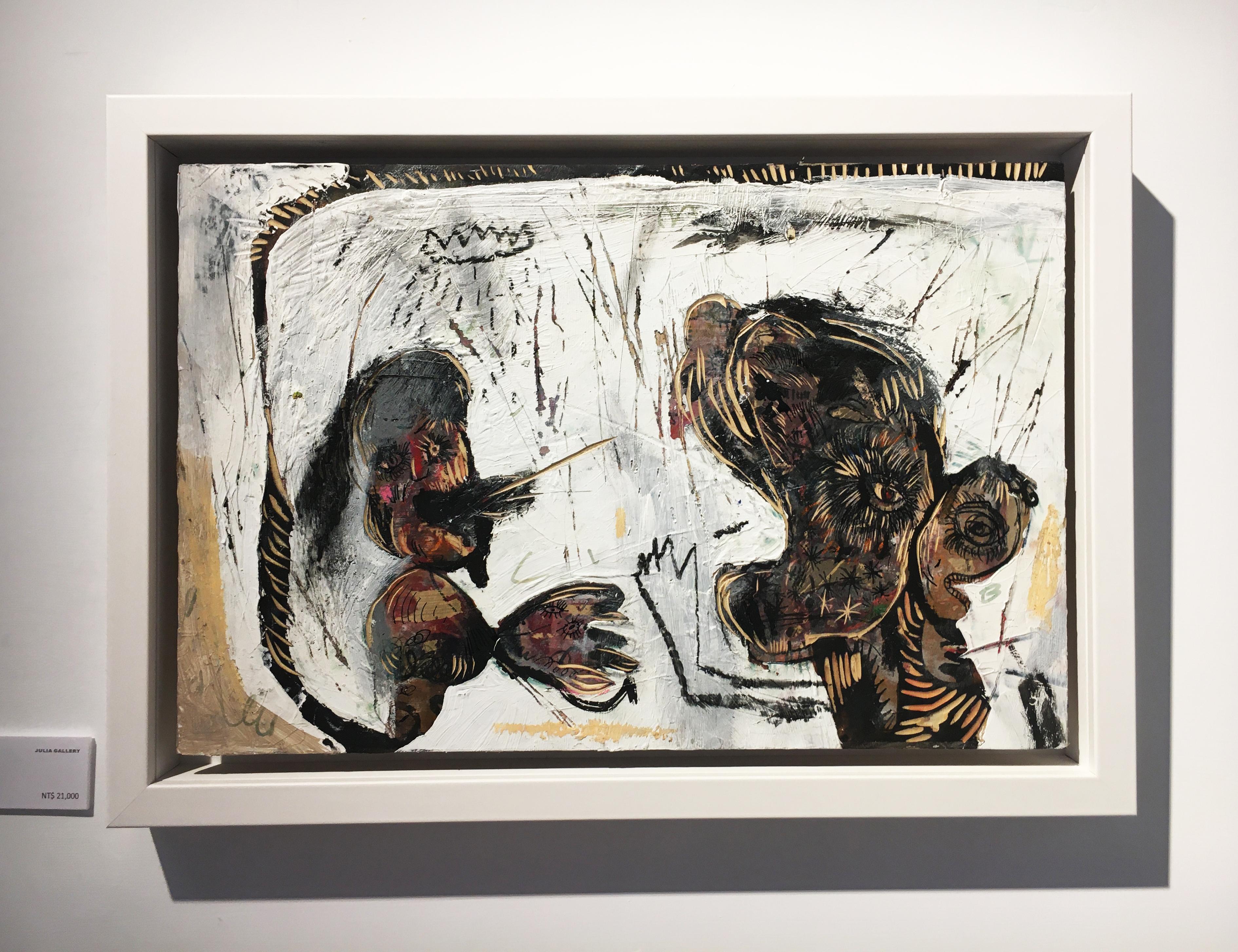 張瓊方,《講不聽》,30 x 45 cm,油彩、蠟筆、木板、壓克力板,2020。