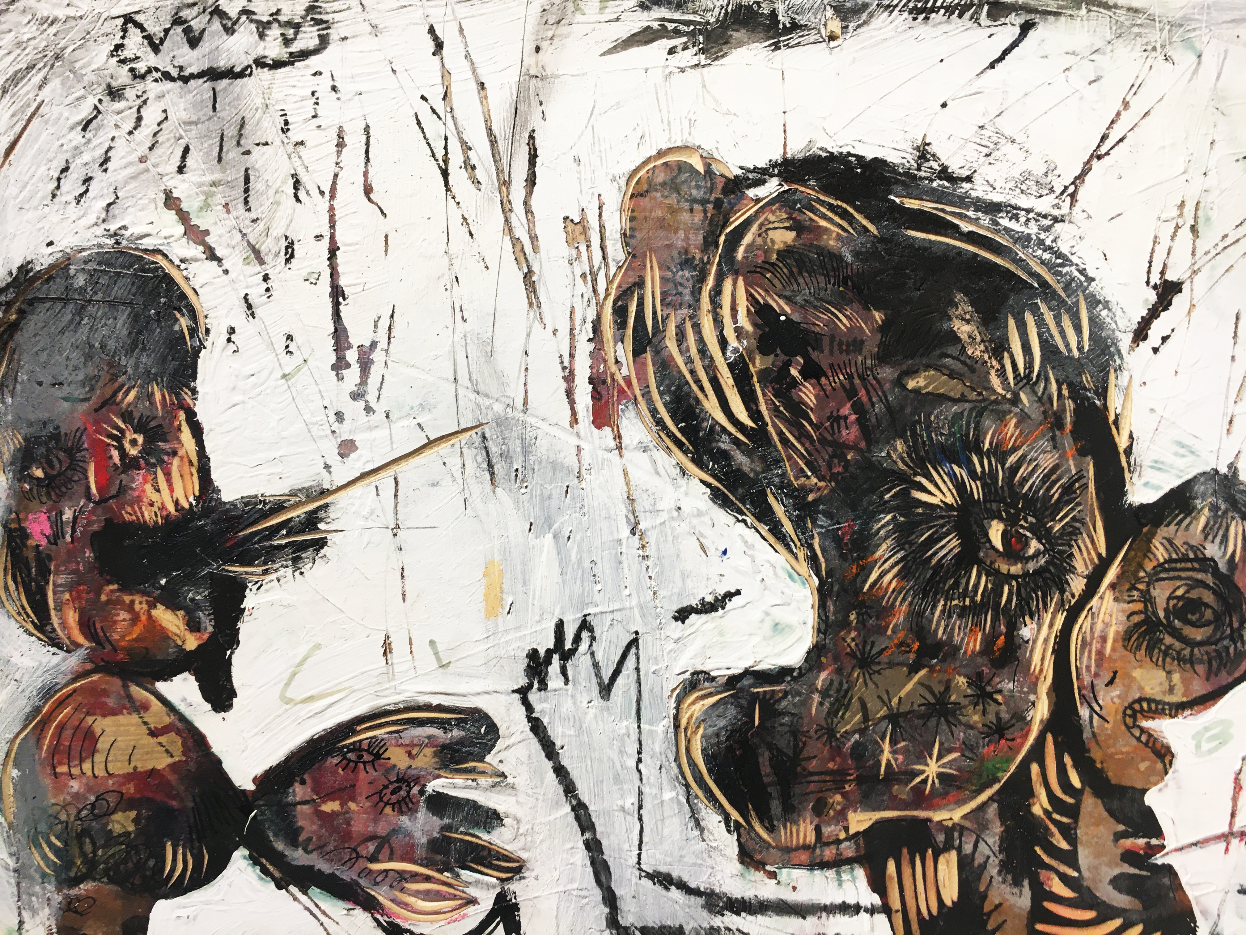張瓊方,《講不聽》細節,30 x 45 cm,油彩、蠟筆、木板、壓克力板,2020。