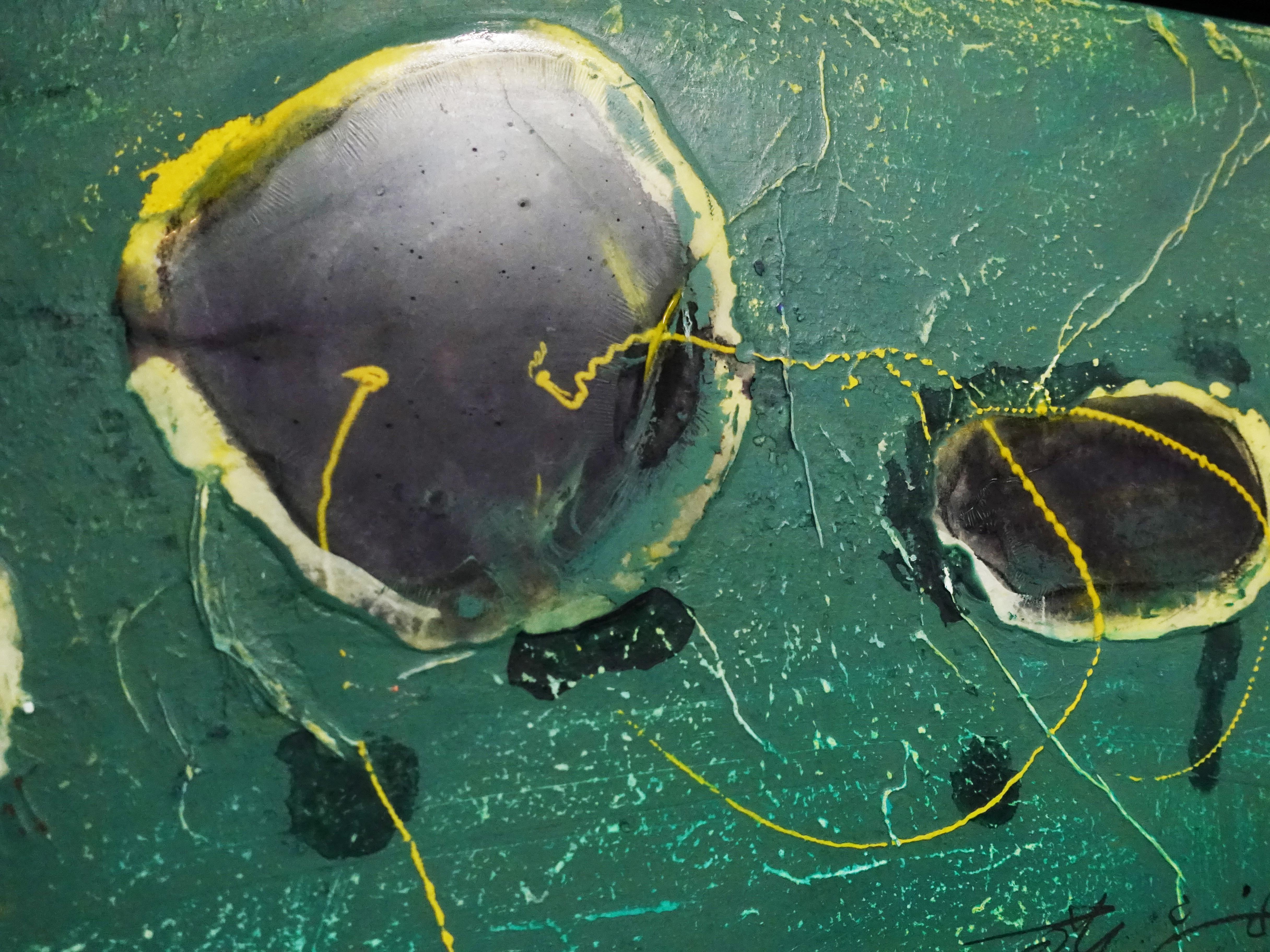 洪明爵,《海洋印記IX》細節,60 x30 cm,複合媒材,2020。