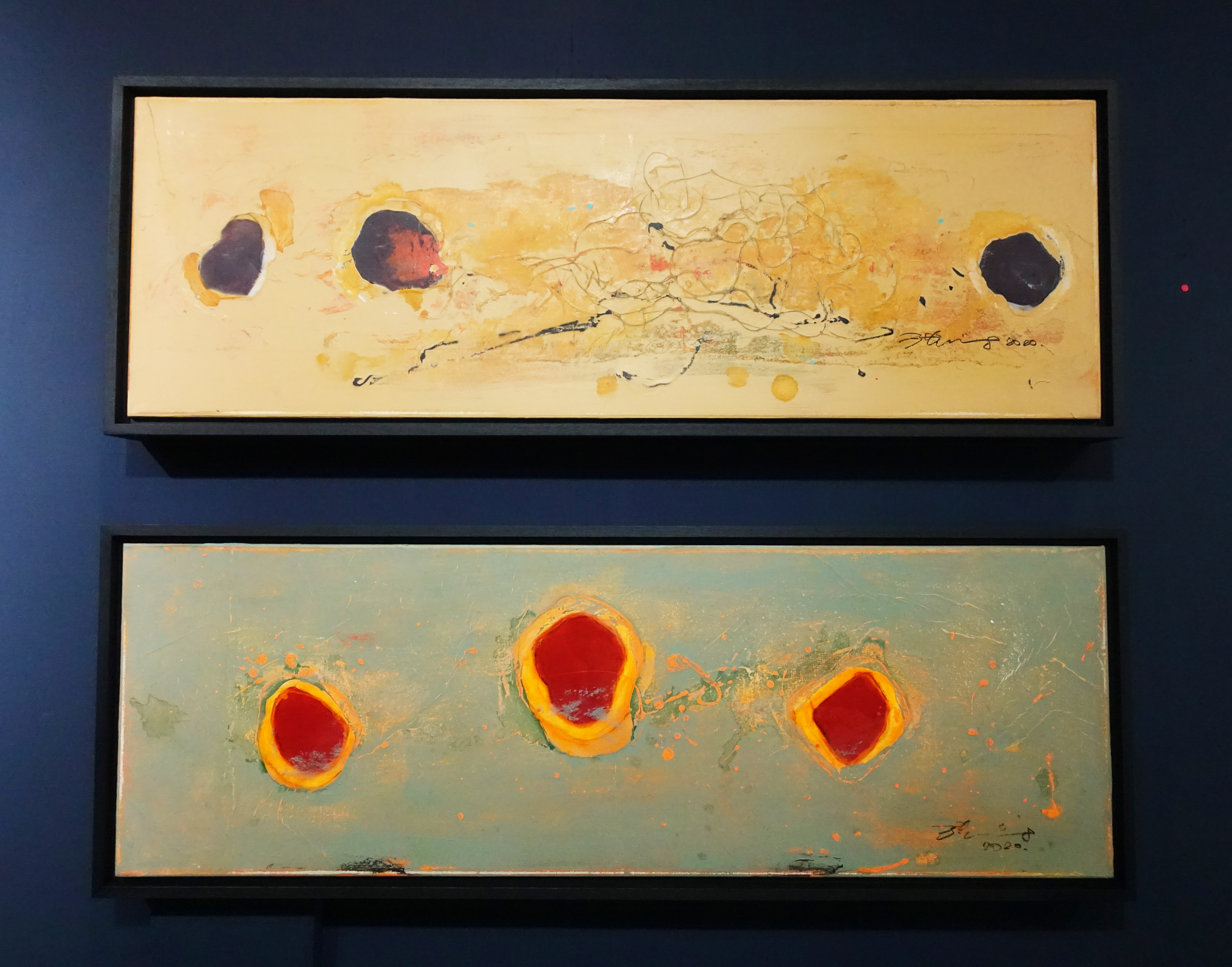 洪明爵,海洋印記系列作品,90 x30 cm,複合媒材,2020。