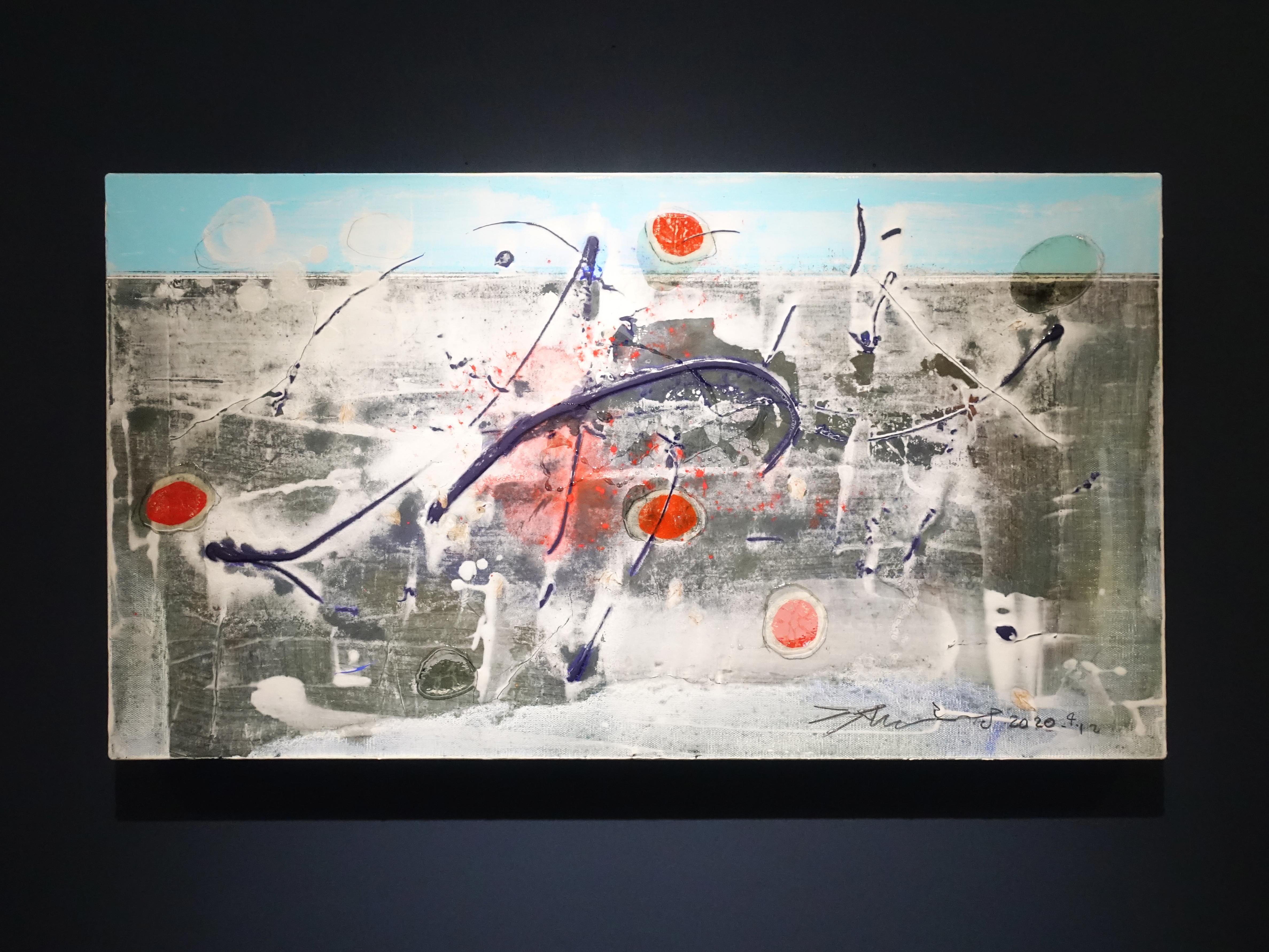 洪明爵,《火紅的印記》,90 x50 cm,複合媒材,2020。