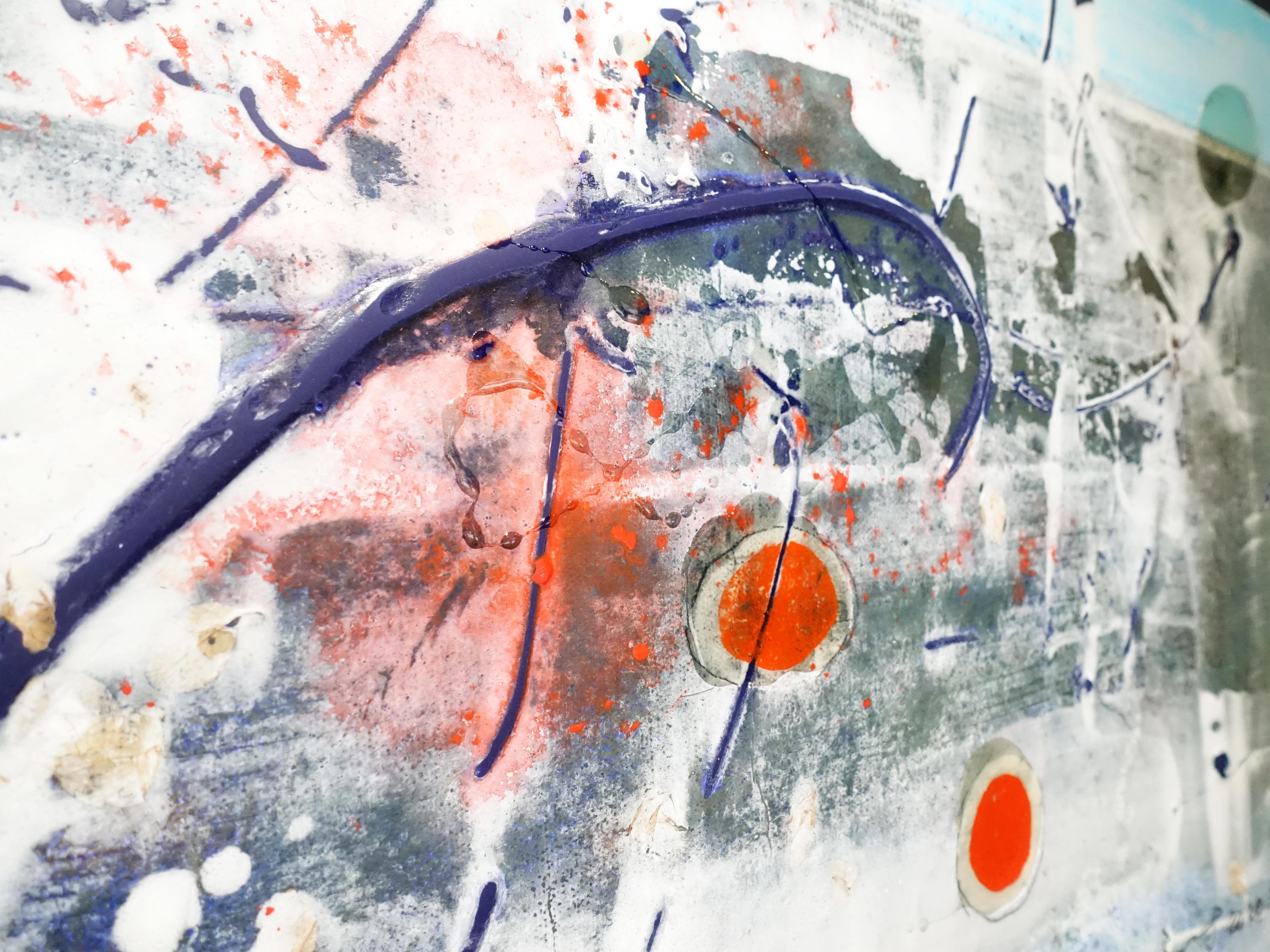 洪明爵,《火紅的印記》細節,90 x50 cm,複合媒材,2020。
