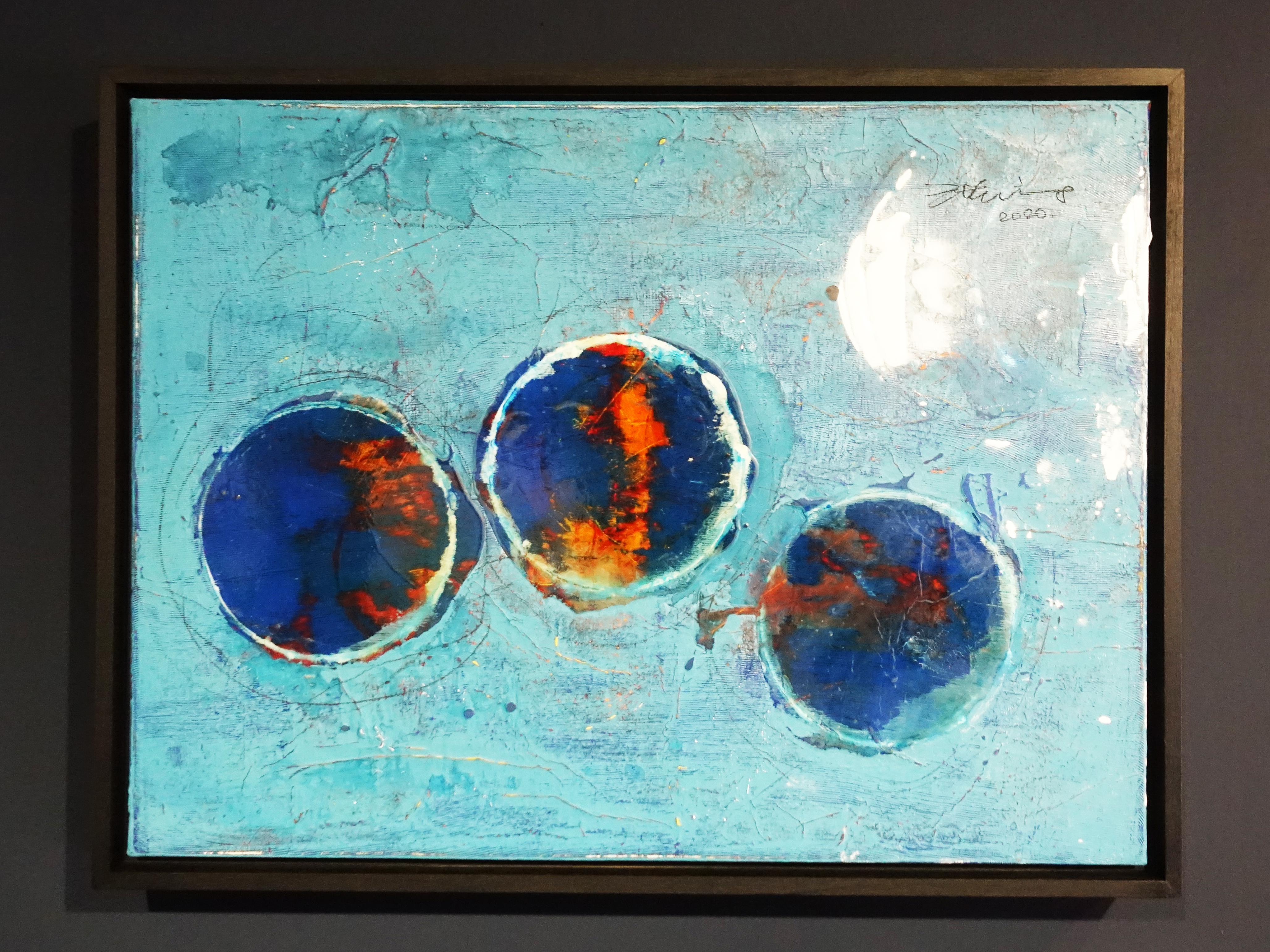 洪明爵,《圈圈》,60.5 x45.5 cm,複合媒材,2020。