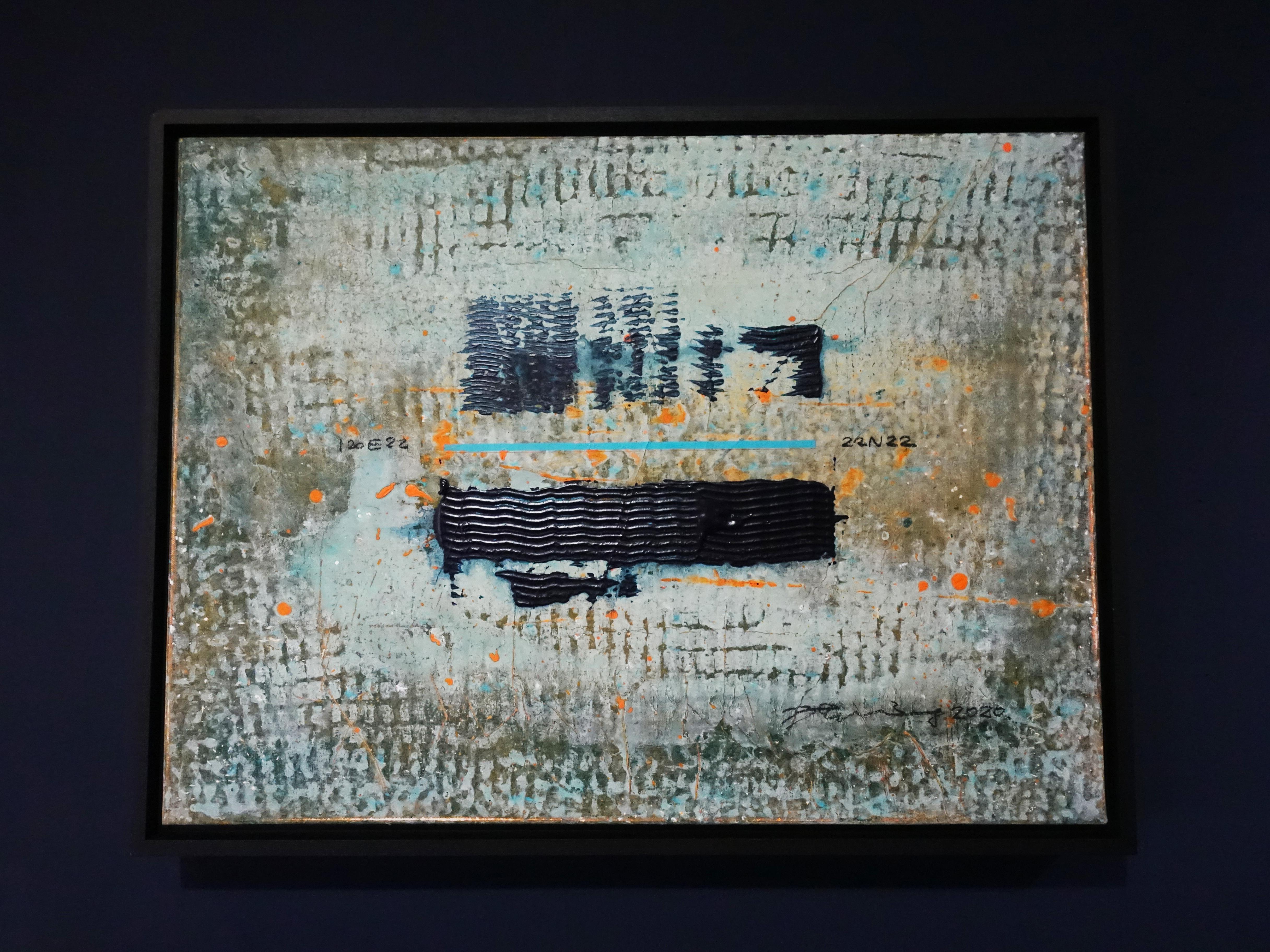 洪明爵,《22N22》,60.5 x45.5,複合媒材,2020。