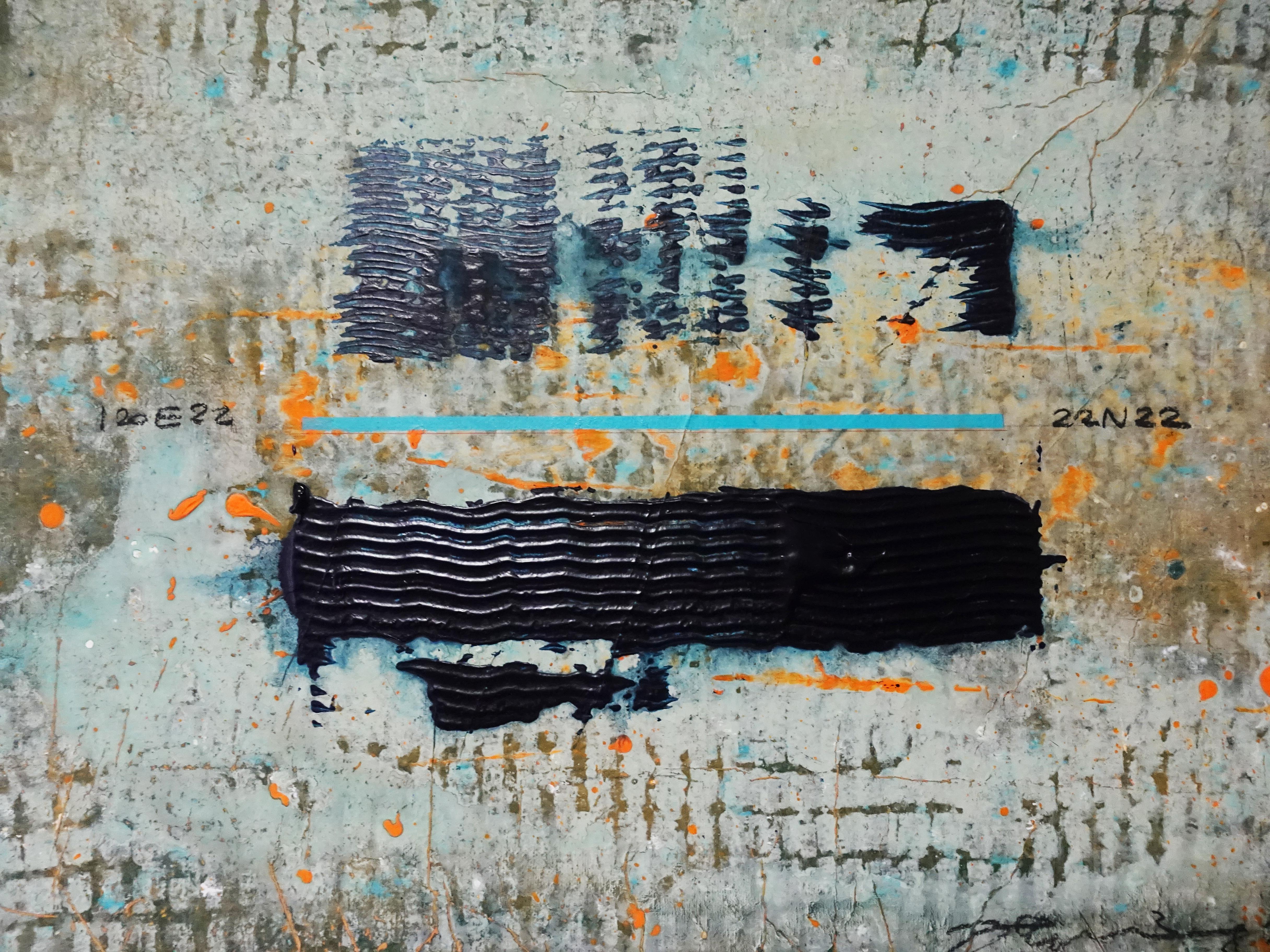洪明爵,《22N22》細節,60.5 x45.5,複合媒材,2020。