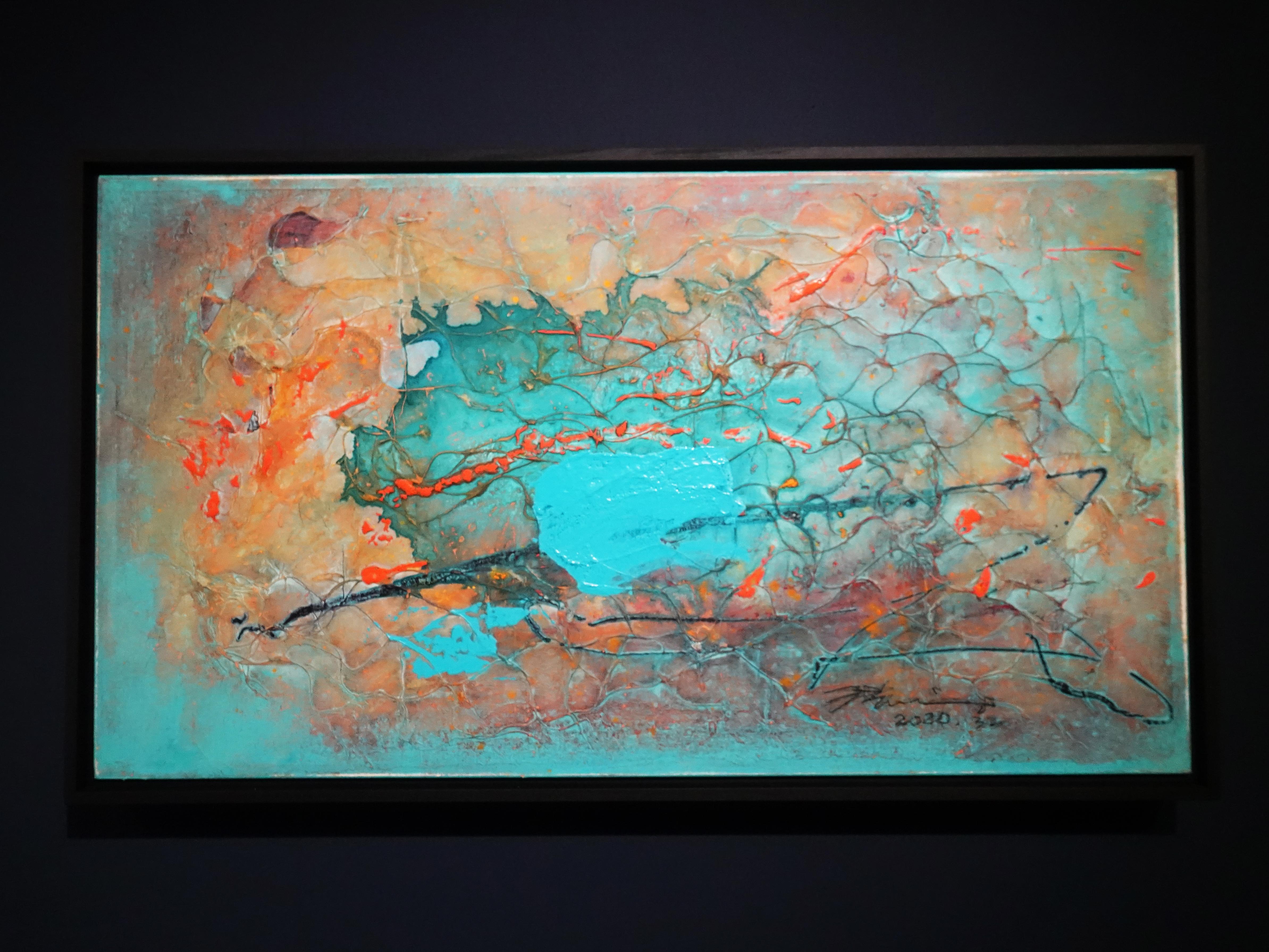 洪明爵,《海洋記憶》,90x50,複合媒材,2020。