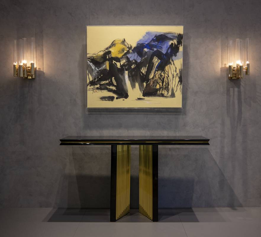 塵三, 書瀑, 96 x 144cm, 水墨、複合媒材, 2020