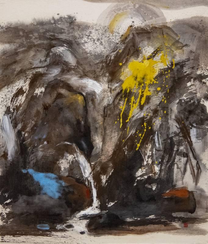 塵三, 點洩, 89 x 76 cm, 水墨、複合媒材, 2020